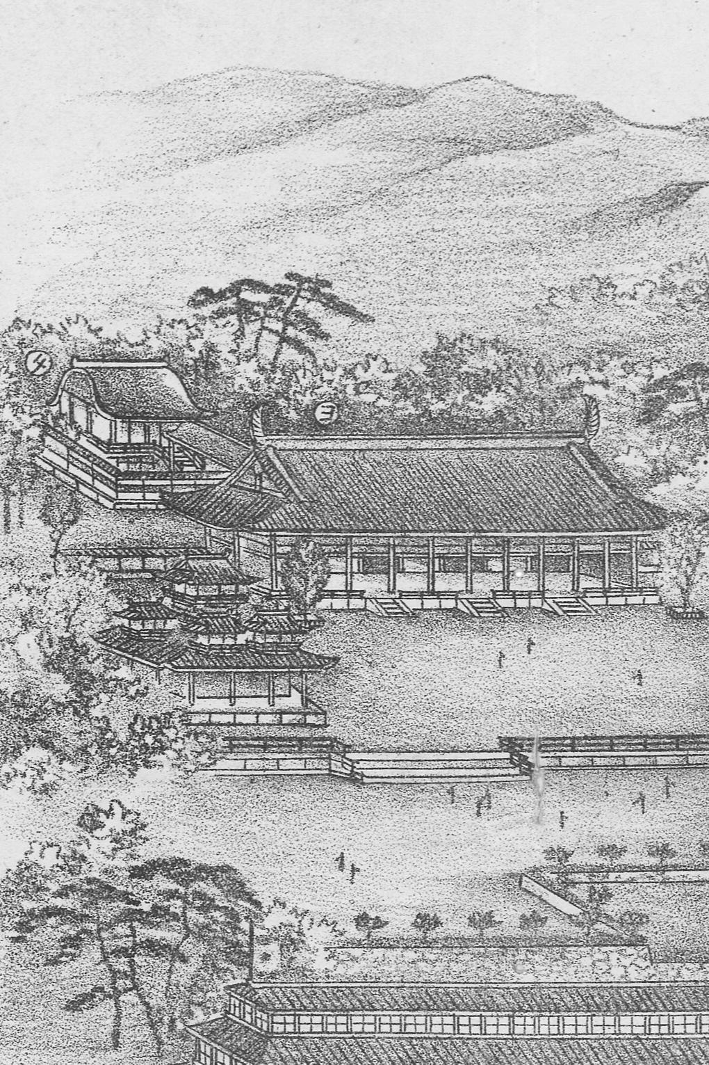 Heian JINGū in 1895.  Detail of Kawai Senrō's  Daiyonkai naikoku kangyō hakurankai oyobi Heian jingū daigokuden no zu . Personal collection.