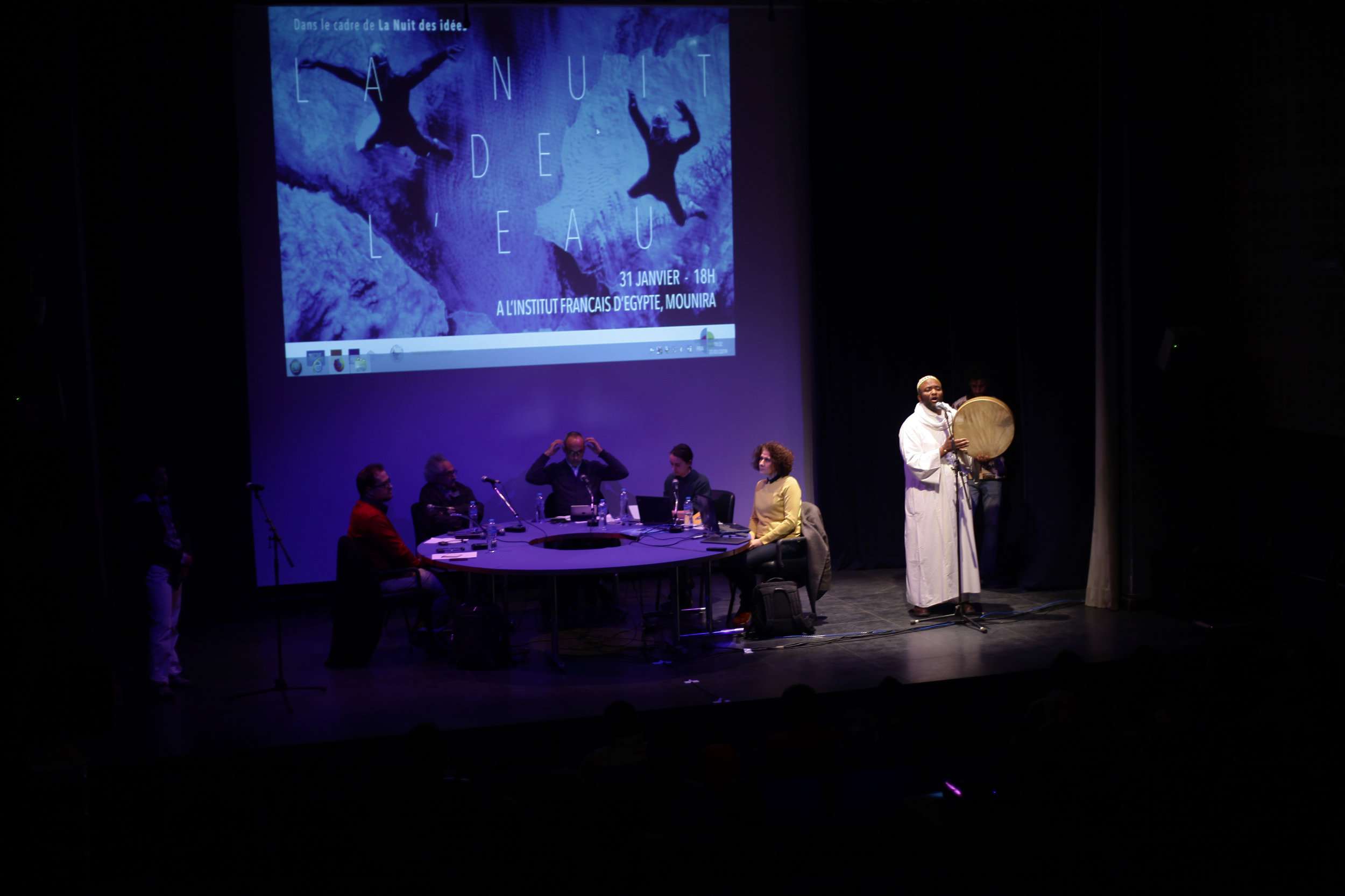Nuit de l'eau, 31/01/2019. Robin Seignobos, Sonallah Ibrahim, Lionel Ruffel, Elvina Le Poul, Ala Younis, groupe Africairo.