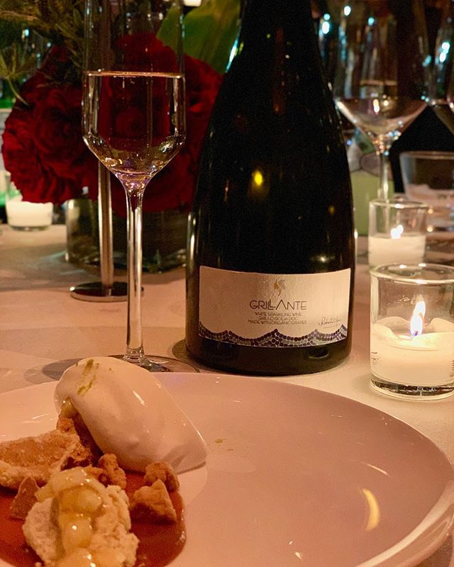 """Our precious #Grillante paired with @christinatosi 's """"Apple pie-ish"""". It was a uniquely sweet and savory pair! You can never have enough bubbly, you know. 😉 #OnceUponAKitchen #NewYork"""