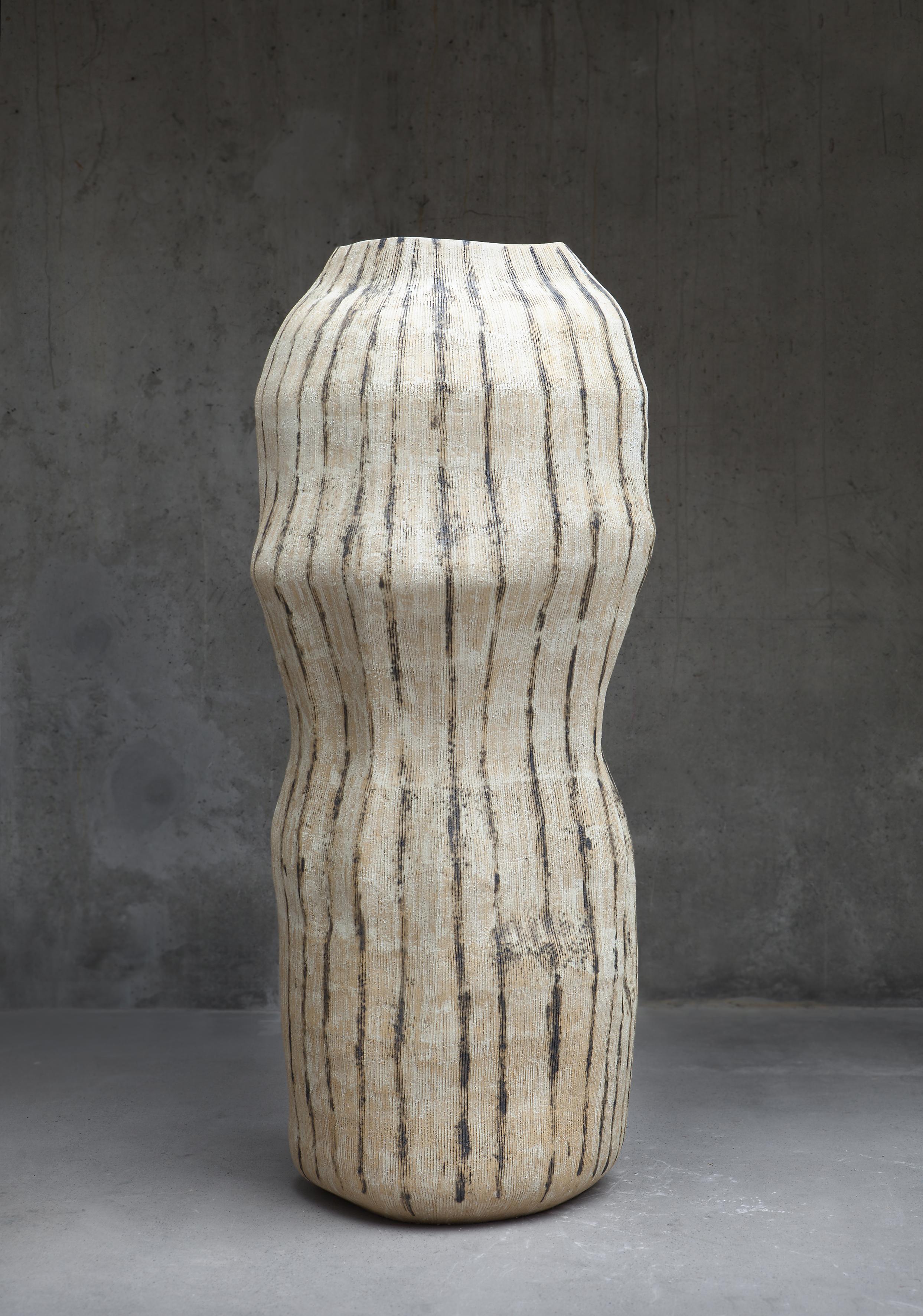 Qaa I , 2018 | Handbuilt/coiled stoneware, Hans Coper glaze with titanium oxide and copper oxide  Photo credit: Chikako Harada