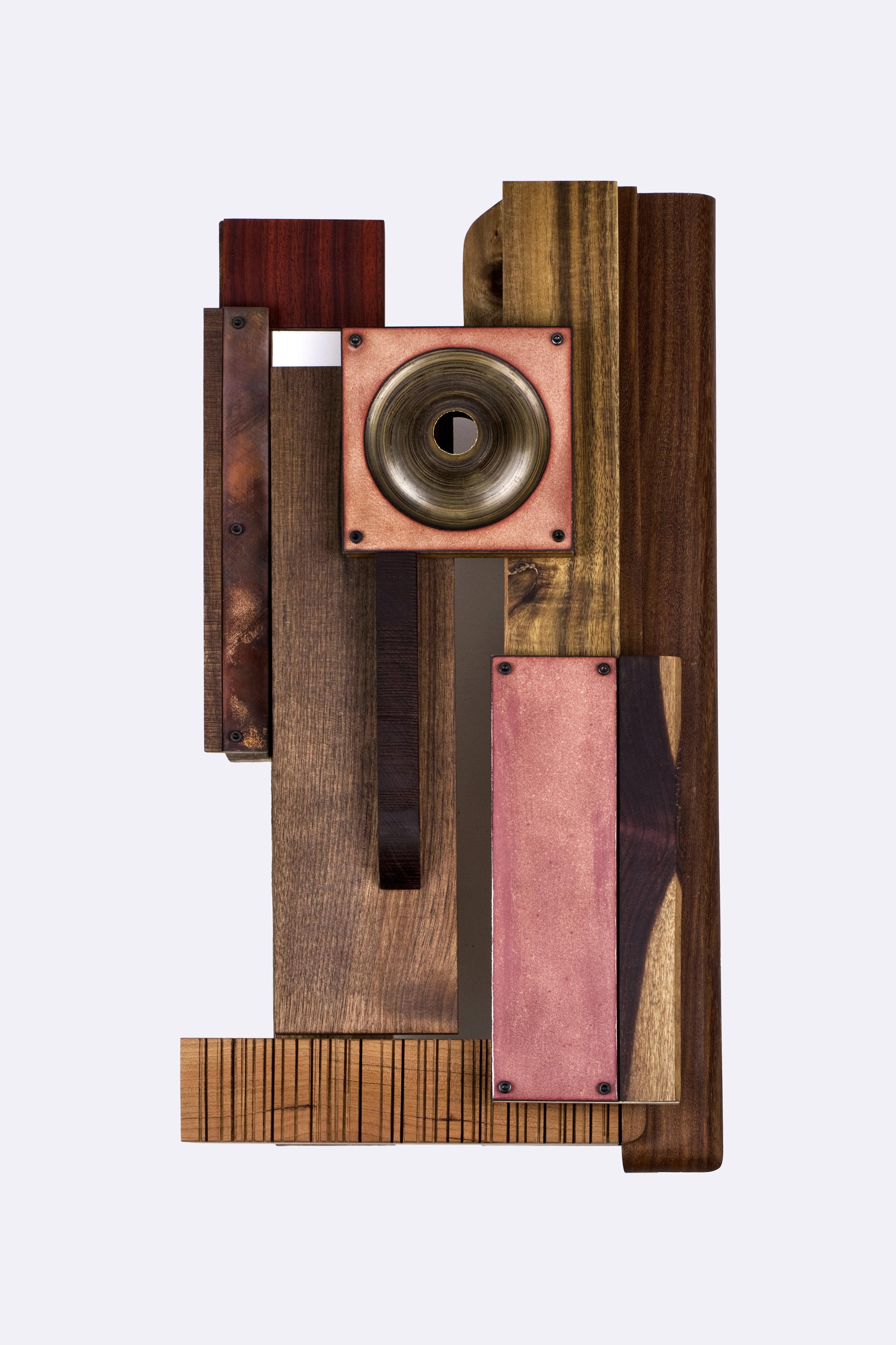Ydmyk    Wall sculpture, 2018   44x24x10,5cm   Materials: Wood, copper, steel, enamel, found objects.  Photo credit: Aliona Pazdniakova
