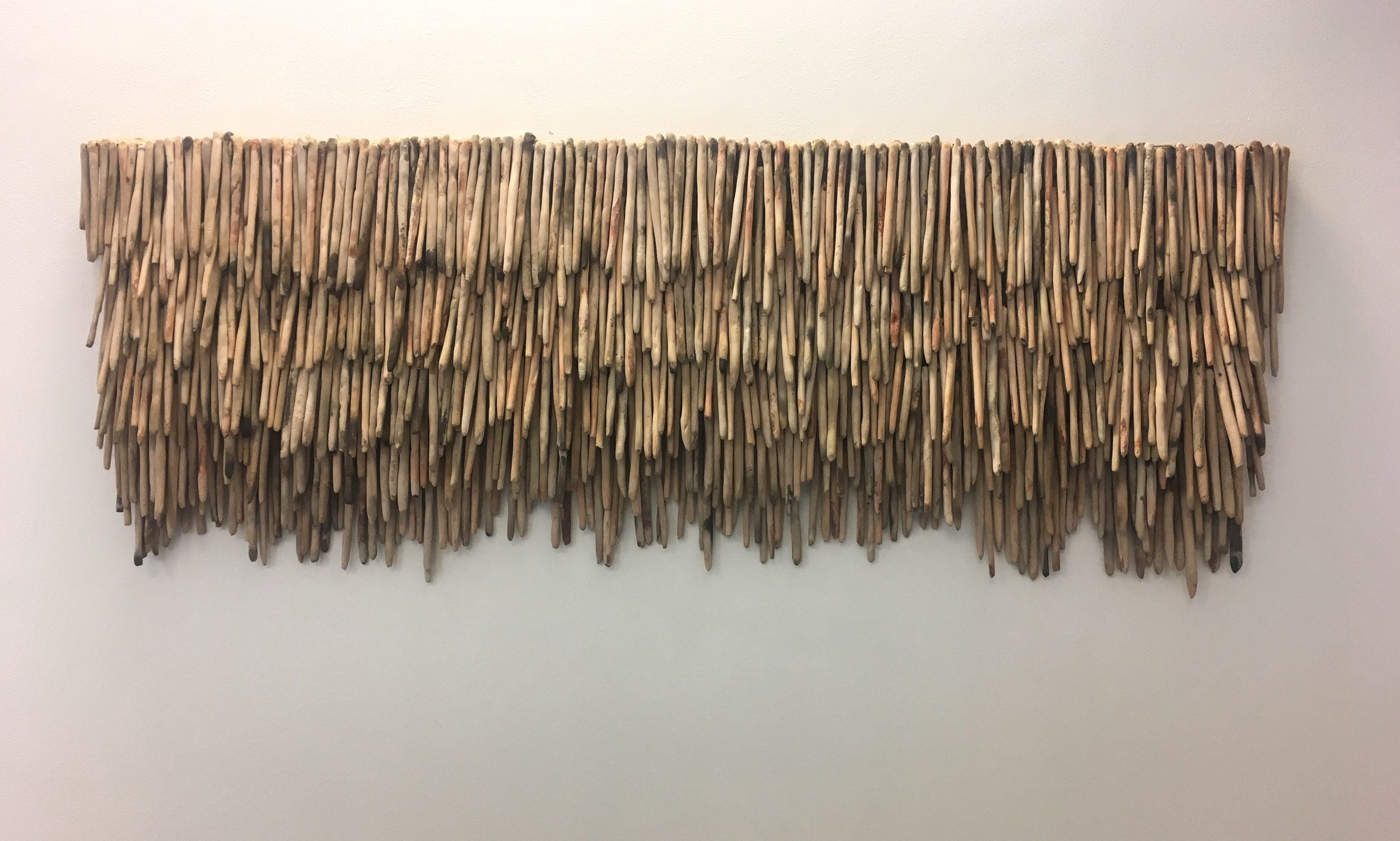 Elementenes samspill , 2018 | Ceramic tapestry, hemp, steel, elements «milk and salt-glazed 'pit burned stoneware  Photo credit: Courtesy of Galleri Format Oslo