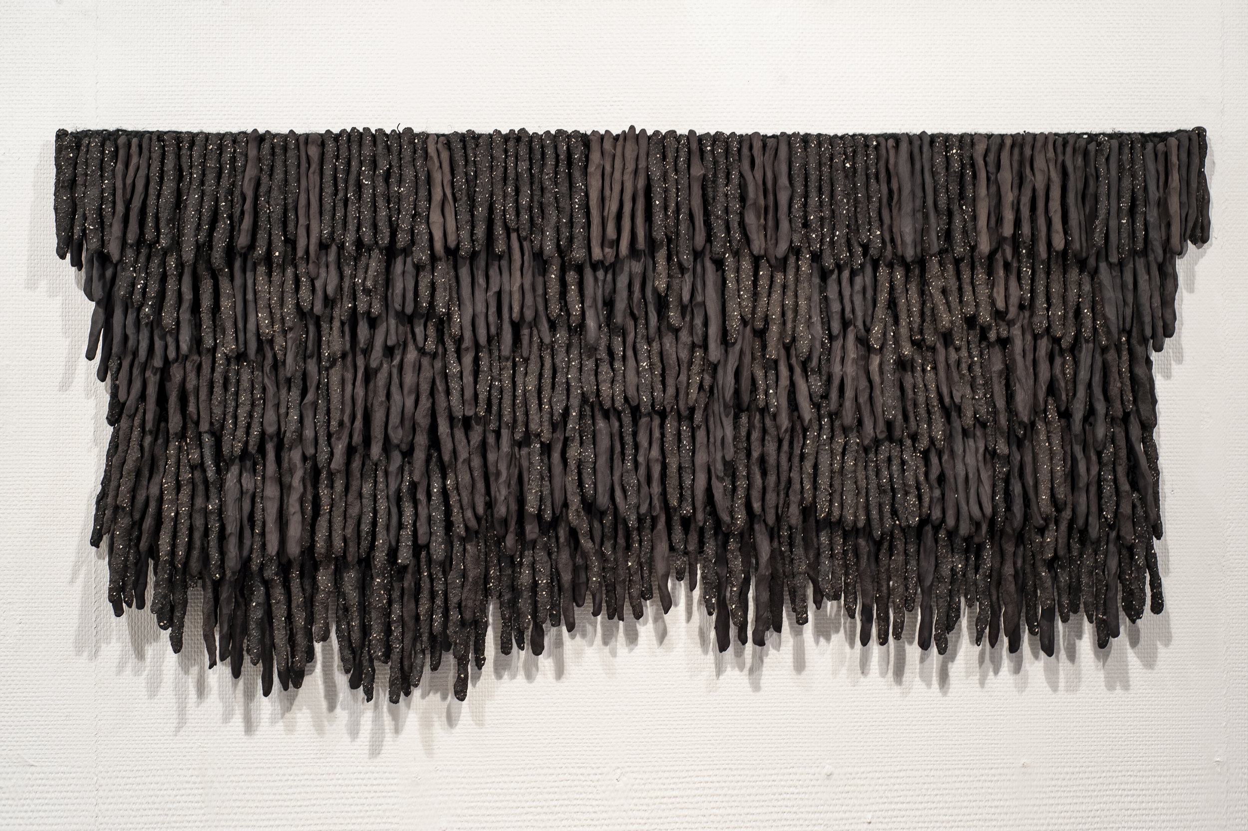 Ekre , 2018 | Ceramic tapestry, hemp, steel and unglazed stoneware.  Photo credit: Courtesy of Galleri Format Oslo