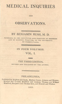 "Image Description: beige cover of old book entitled ""Observations"" by Benjamin Rush, with ""in four volumes, volume 1"" printed in the middle, and publication information printed at the bottom."