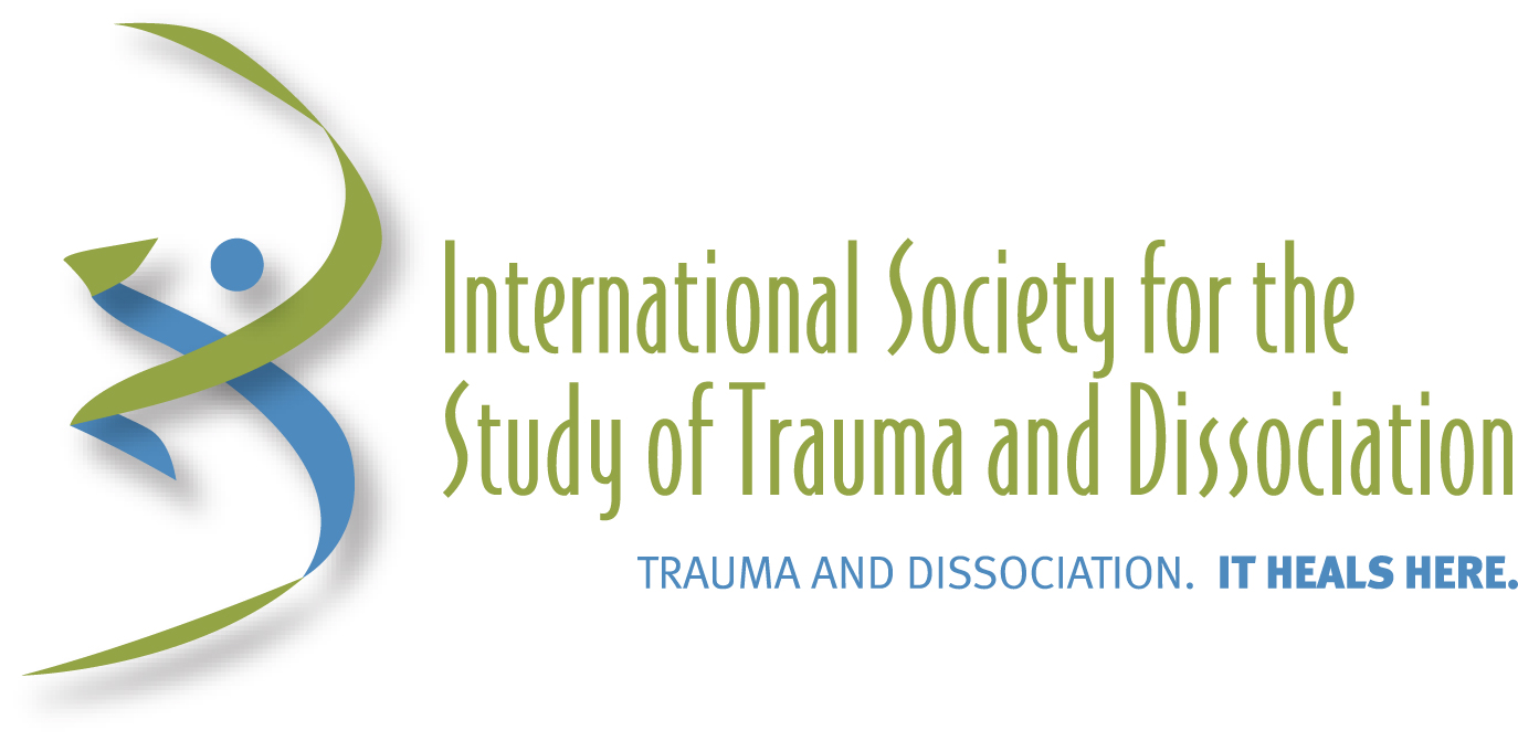 "Image Description: green and blue swirled logo is on the left, with the center and right taken up by slim lettering that reads ""International Society for the Study of Trauma and Dissociation"" and then in smaller letters beneath that it says ""Trauma and Dissociation. It heals here."""