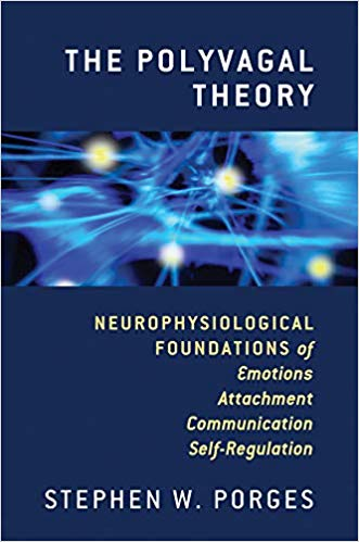 "Blue cover of Porges's book reads ""The Polyvagal Theory"" at the top right, with brain structure picture in the middle and with subtitle written below. Author's name is at the bottom center."