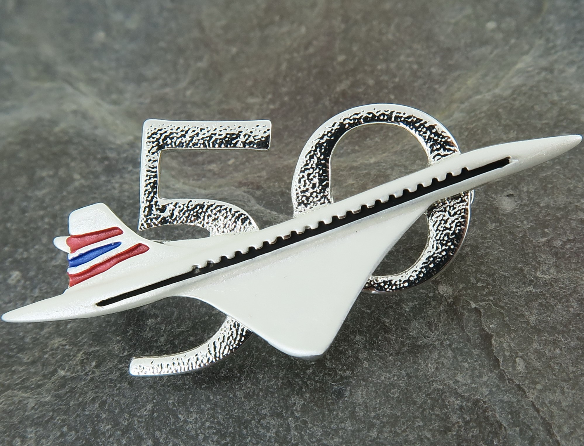 - Celebrate the 50th Anniversary of the 1st British flight of Concorde, with this specially made enamel/silver brooch, available for just £6.50