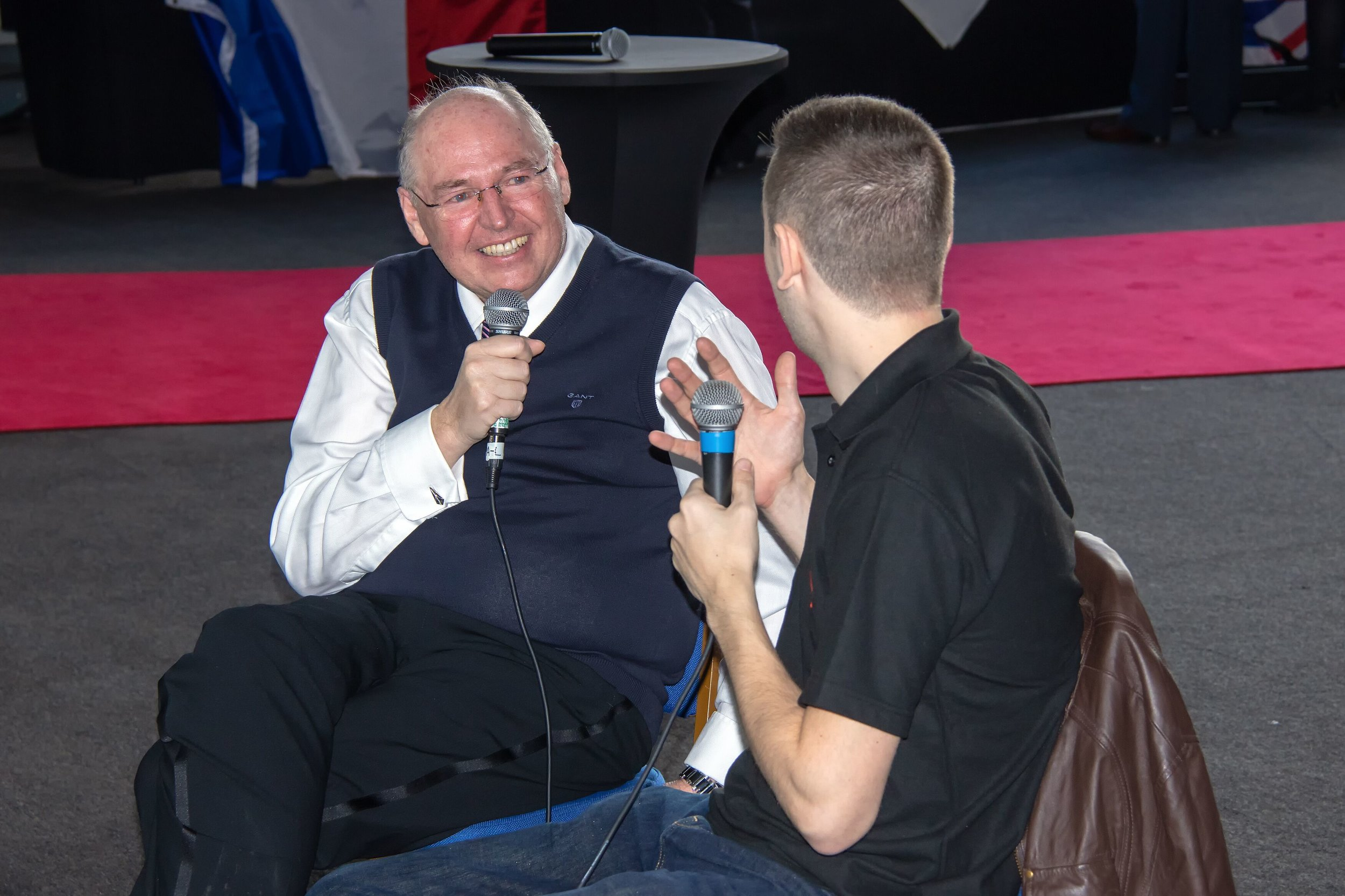 TAS Chairman, Peter Hampson (left) was MC for the event and is pictured being interviewed by Martin from Airliners Live TV.