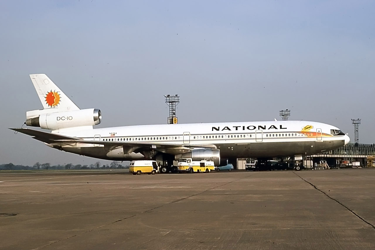 National Airlines Dc10-30 N83NA takes on fuel at the end of Pier B following a divert from London Heathrow on 7th March 1977.Peter H