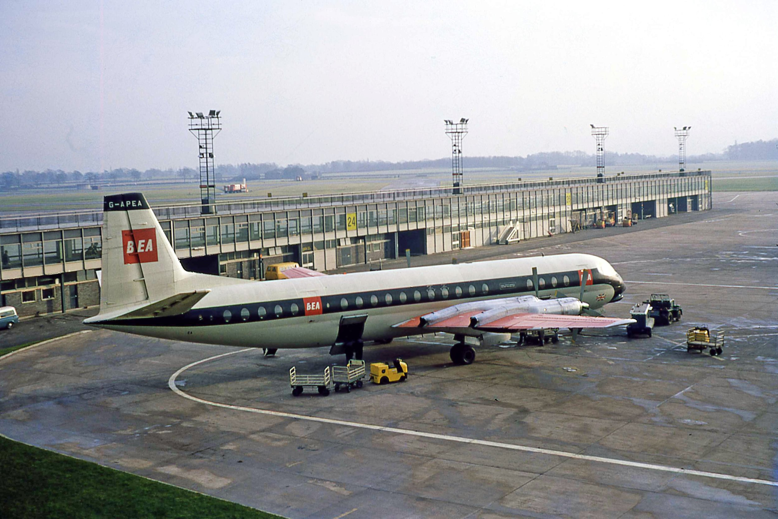 What could be described a a typical Manchester scene at the time? BEA Vanguard G-APEA is the only aircraft to be seen on Pier A in March 1967. Photo Bob Thorpe