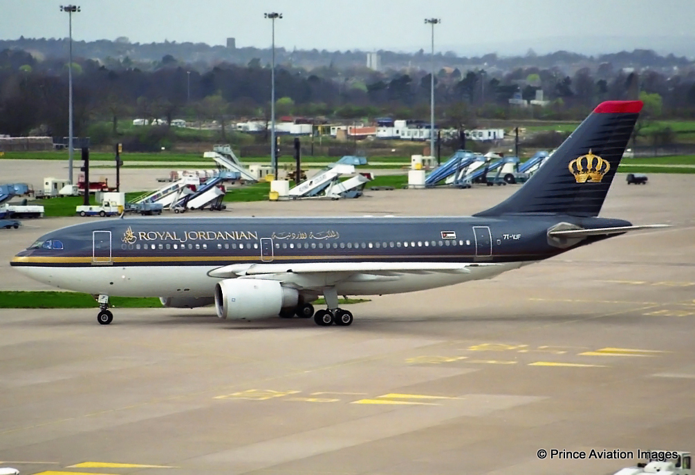 Yes, its another on of those airlines which operated the Hajj flights from MAN. On this occasion it was Algerian A310 7T-VJF operating at the time for Royal Jordanian.Seen here departing T2 on 28th March 1997. Photo - Stuart Prince.