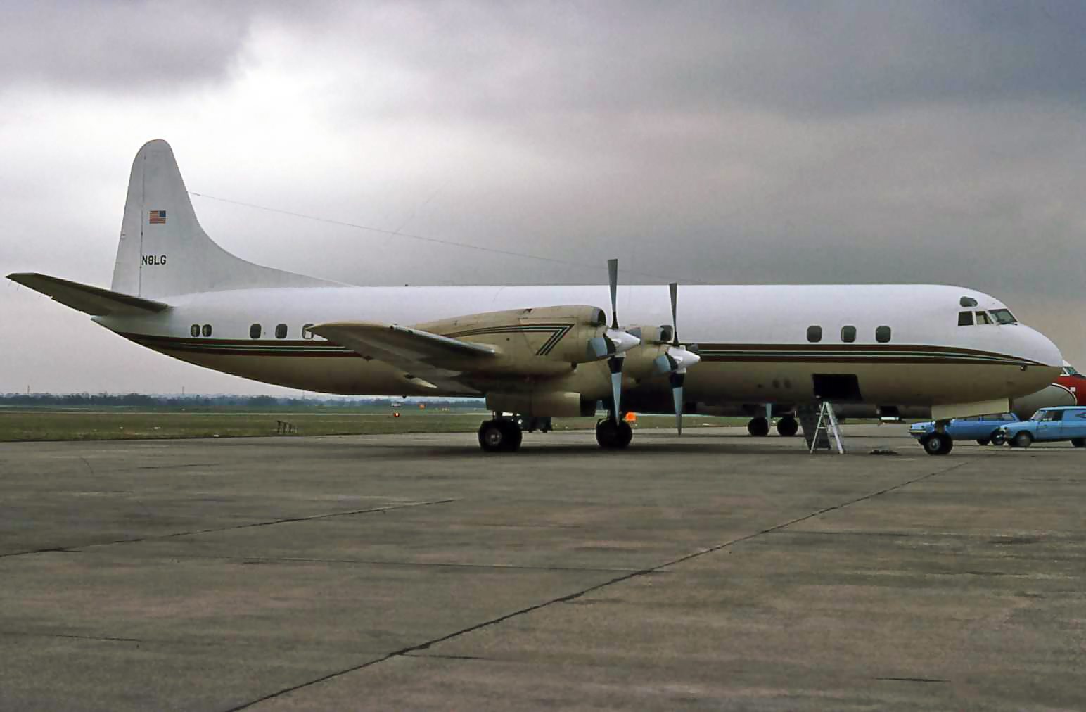 Lockheed Electra N8LG is pictured in the Southbay on 30th March 1979.The aircraft brought in John Denver on 29th for a concert in Manchester. The aircraft was in full VIP configuration and looked immaculate inside and out!Photo Peter H.