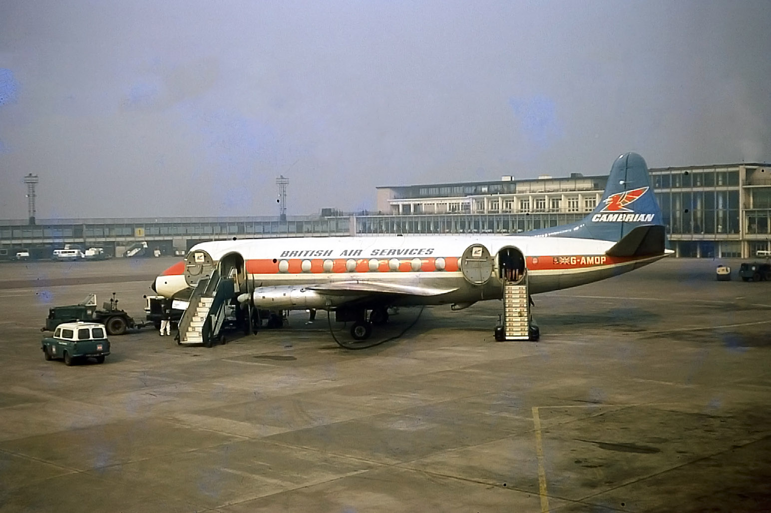 Cambrian / British Air Services Viscount G-AMOP is looking good on Pier A - March 1969 .Peter H