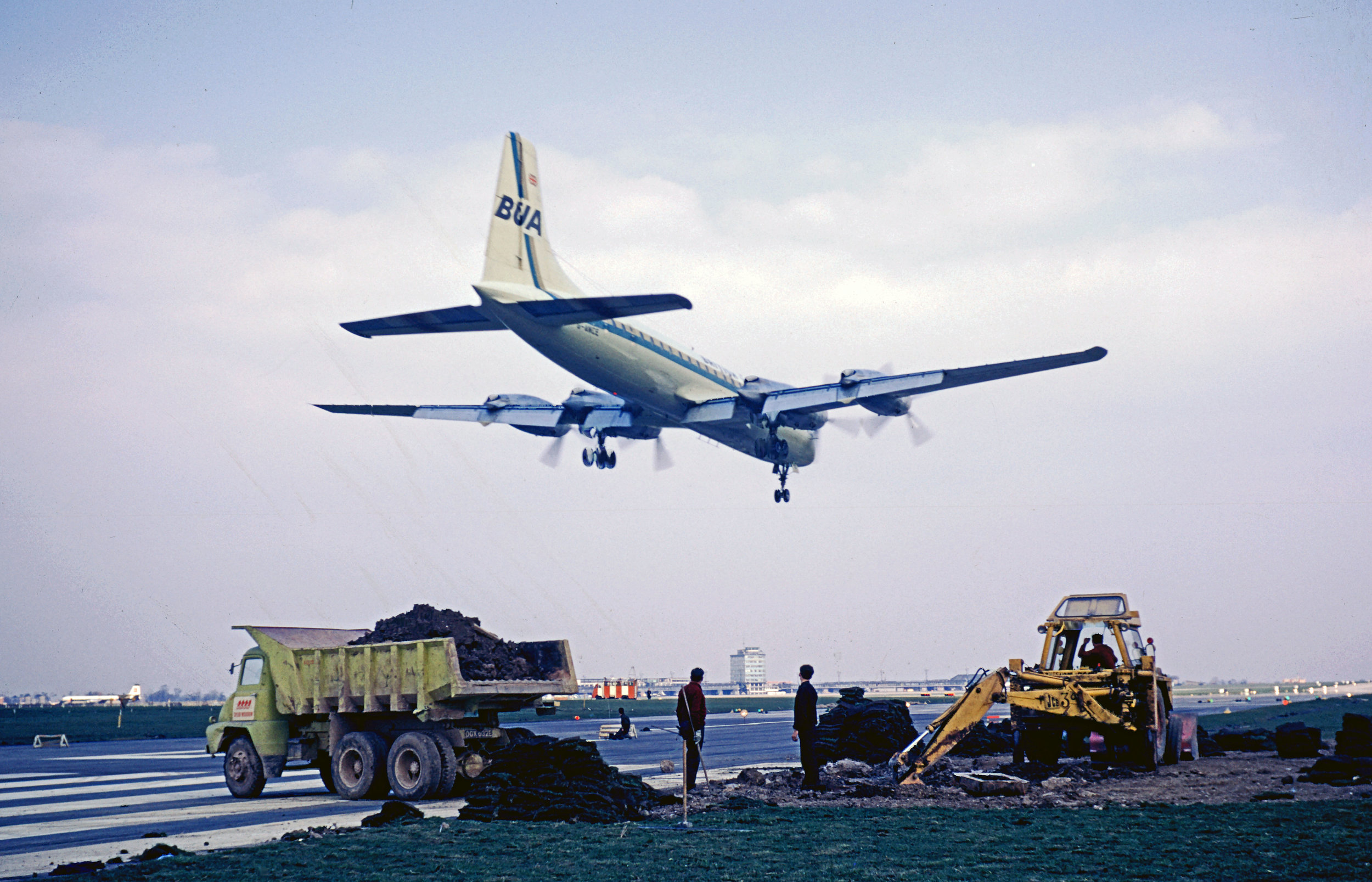 We start our look back at April over the years with a fine shot from Bob Thorpe of a British United Airways (BUA) Bristol Britannia landing over Runway works (06) on 10th April 1968. As they say every picture tells a story and we can certainly see from this shot that times have changed in the 51 years since it was taken.Indeed,Aerodrome operations,safety and control of works are somewhat different today…I wonder if they did a risk assessment?