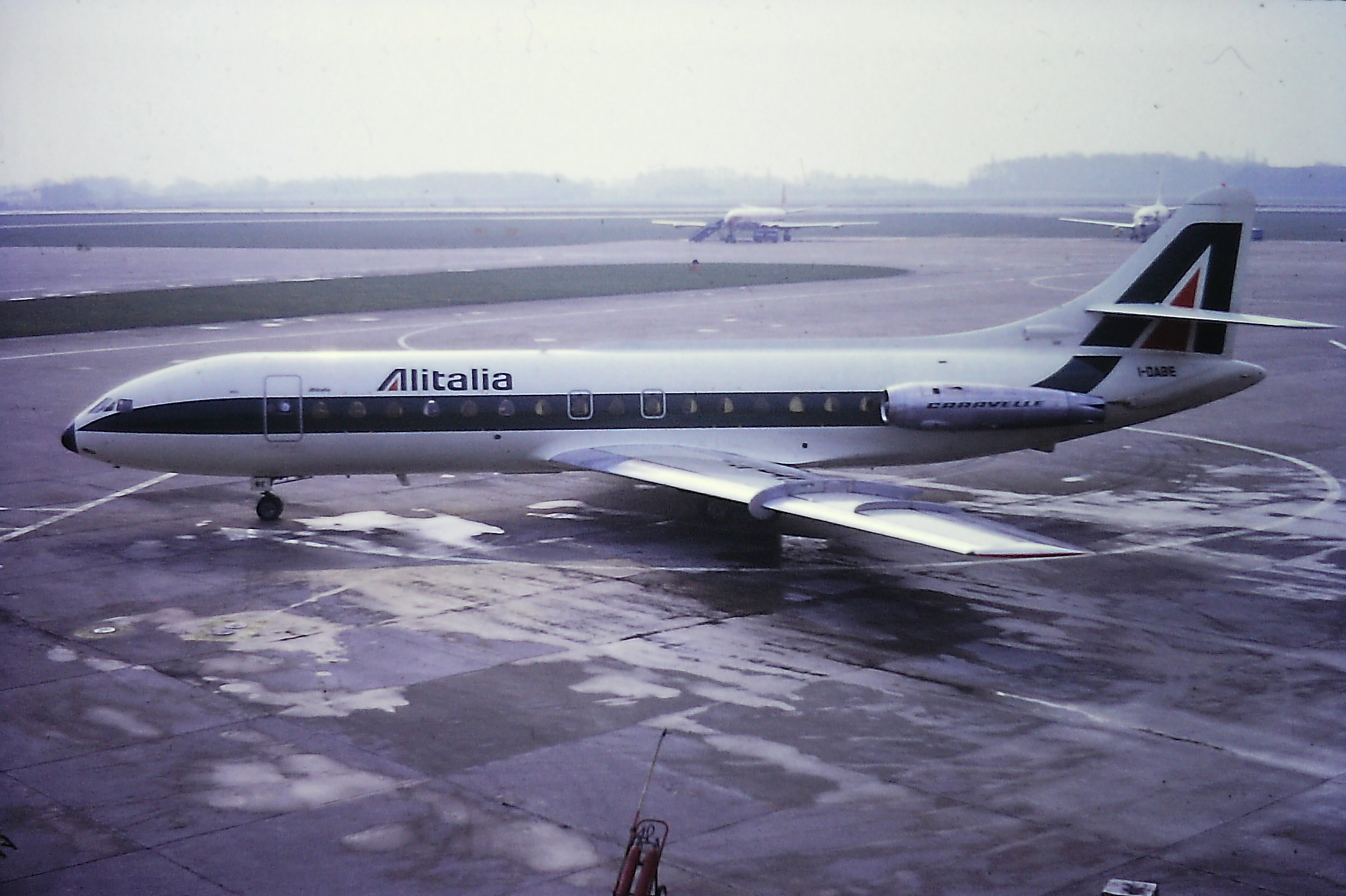 "Another ""classic"" from the Eric Wright collection. Alitalia Caravelle I-DABE prepares to Taxi from Pier B on 10th April 1970."