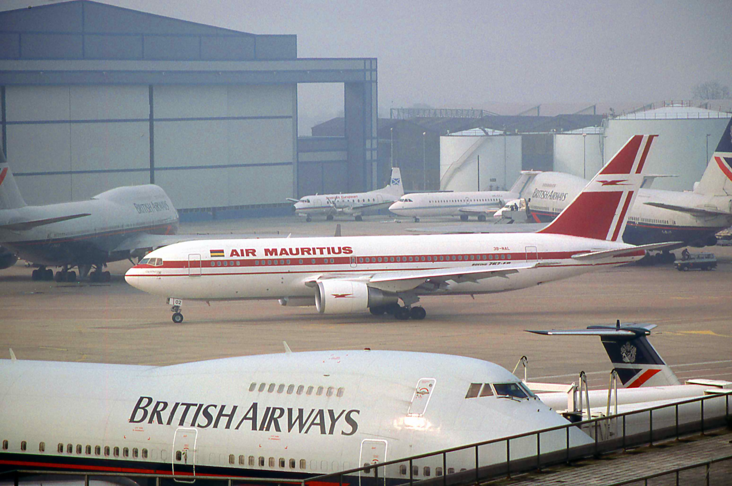 A few diversions from Heathrow on 1st April 1990 including Air Mauritius B767-300 3B-NAL. Photo Peter H