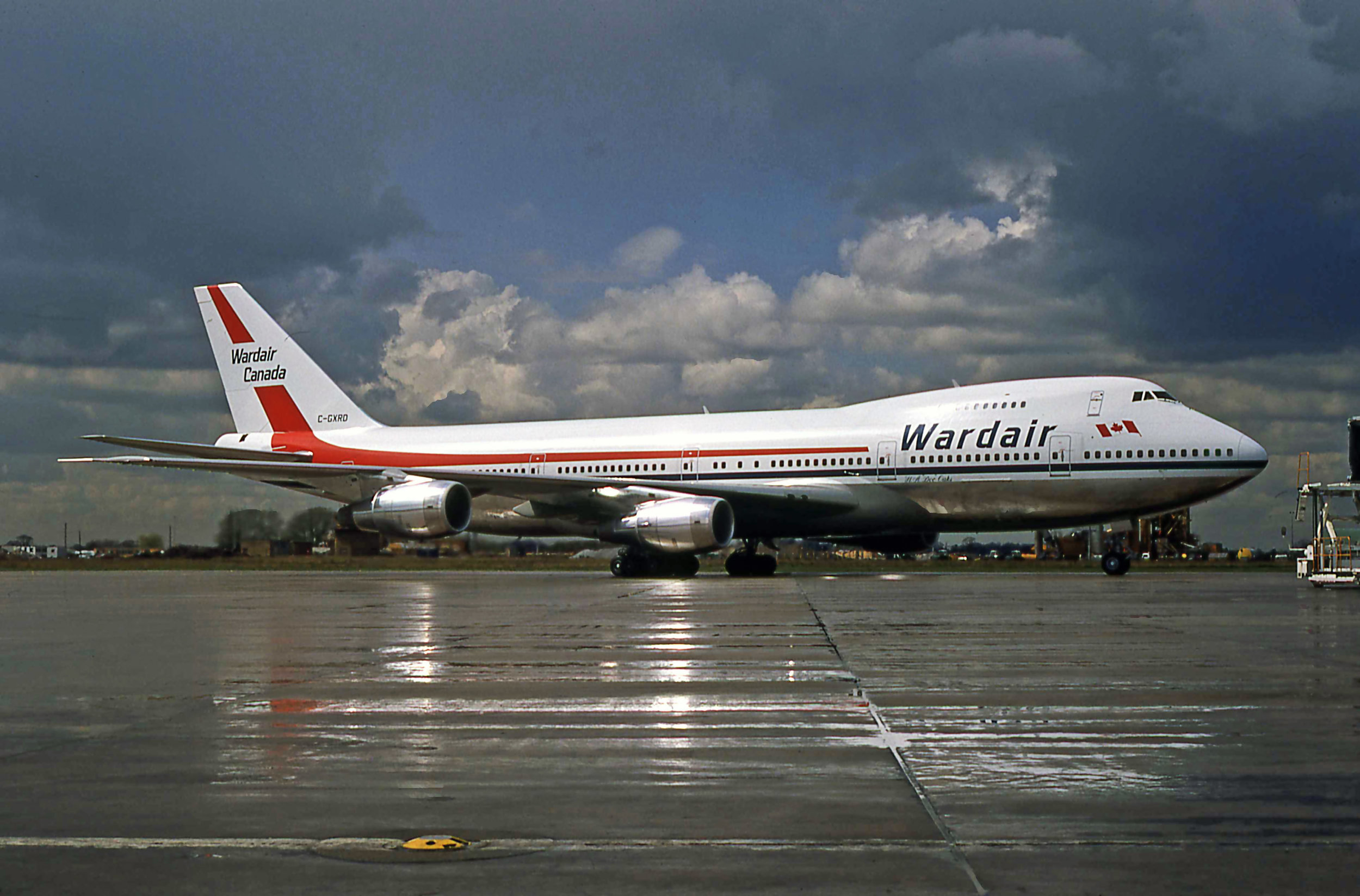 3rd May 1979.It seems like yesterday not 40 years ago that this photo was taken of Wardairs (brand new) B747-200 C-GXRD taxiing onto stand at the end of Pier C. Photo Peter H