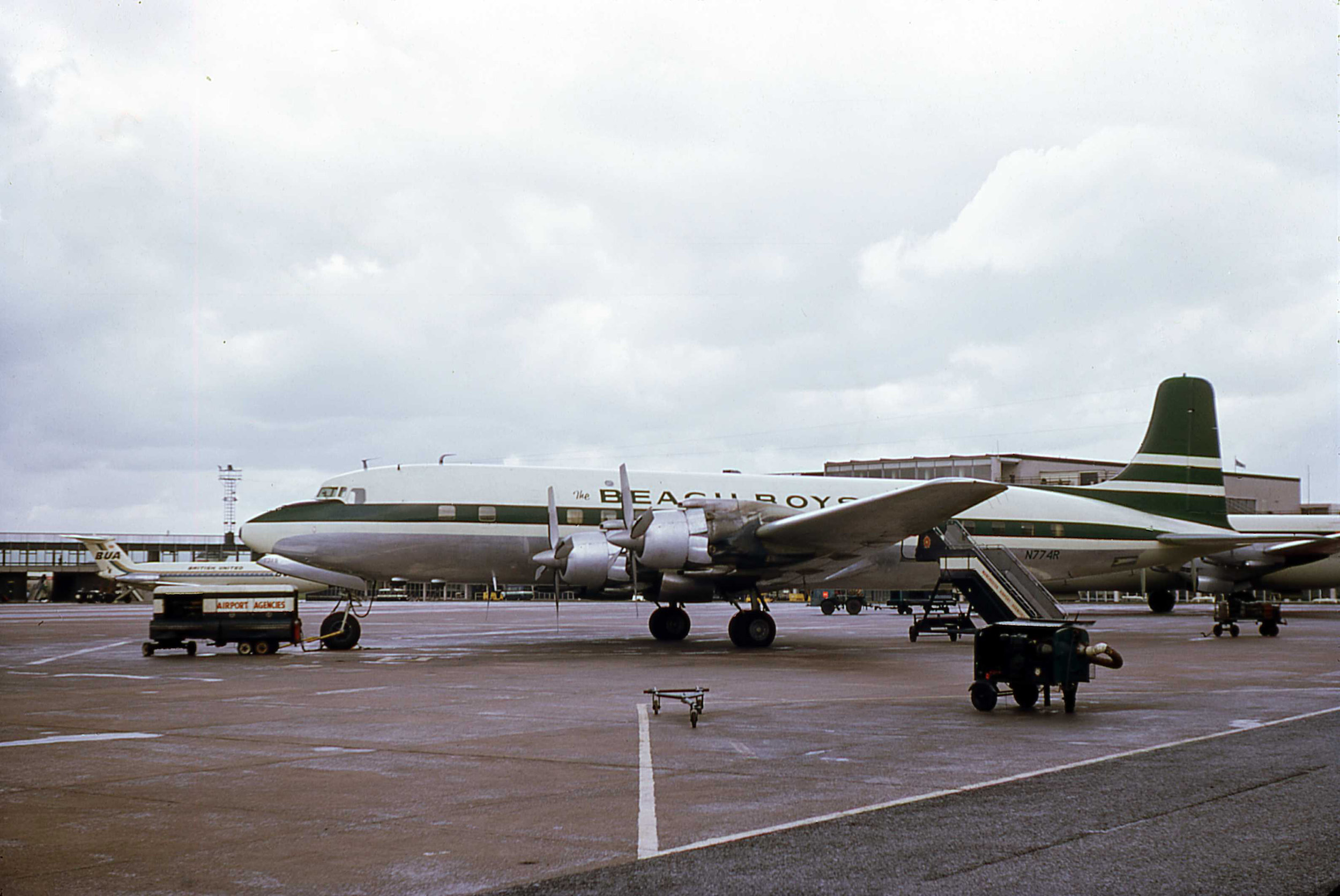 9th May 1967 will remembered as the day the Beach Boys DC7 N774R came to play. Photo Bob Thorpe.