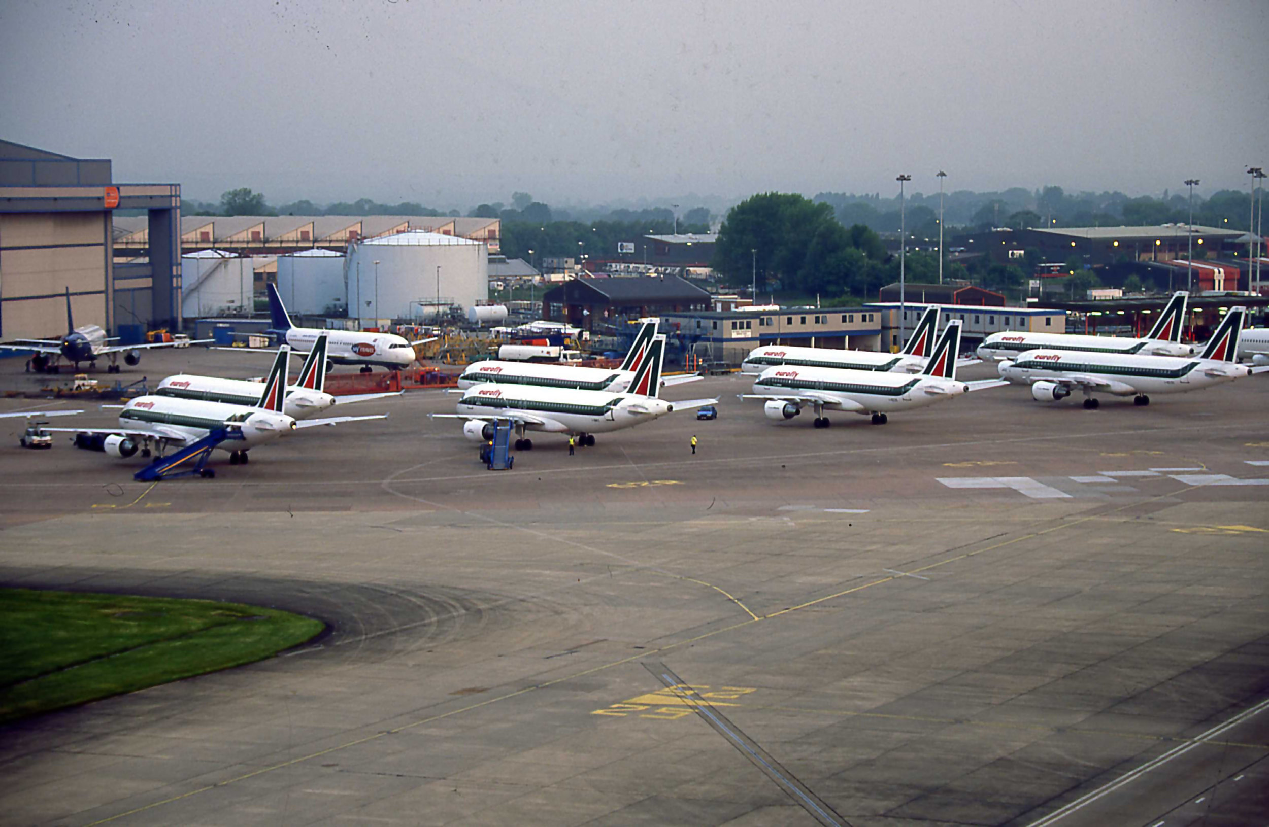"The day Milan came to Manchester - 28th May 2003. We will double park the visiting A320's and put any of our own day stoppers on maintenance aprons…Remember the rule is ""once there in - there in!"""