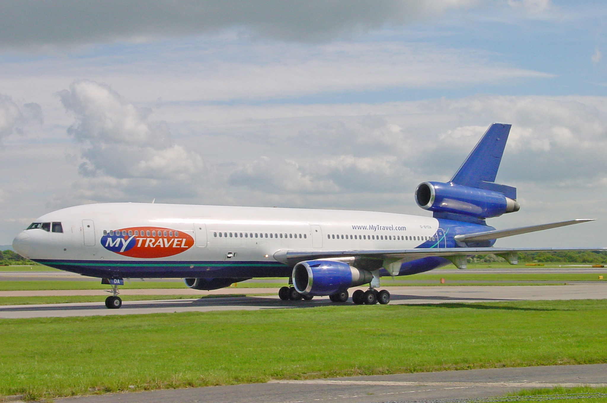 My Travel Dc10- 30 G-BYDA is seen taxiing in to MAN on 20th May 2004. This particular Dc10 was certainly well travelled having started life with Singapore Airlines back in 1978 as 9V-SDA. It then served with 9 different operators around the world - My Travel being the last. The aircraft was eventually scrapped at Kemble in June 2005. Thank you to Steve Ashworth for sharing the photo which was taken from the Aviation Viewing Park 15 years ago.