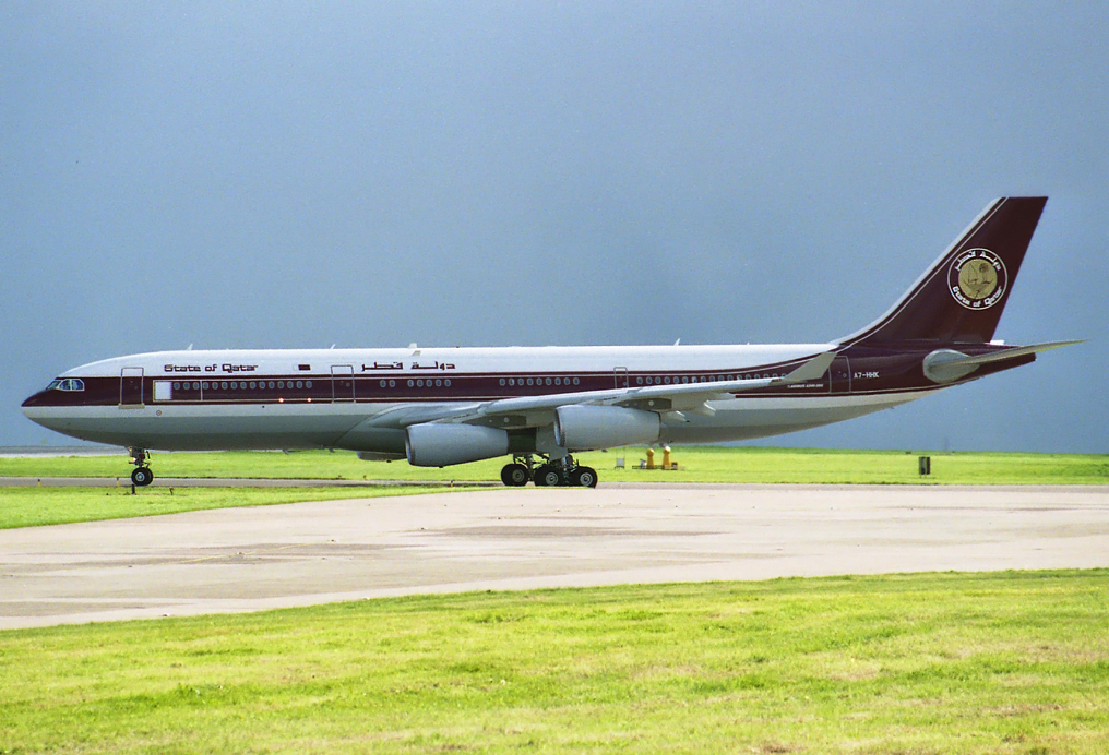 State of Qatar A340-200 A7-HHK was certainly a rare visitor to Manchester. She is seen here lining up for departure back to London Heathrow on 6th May 1997. Photo: Stuart Prince.