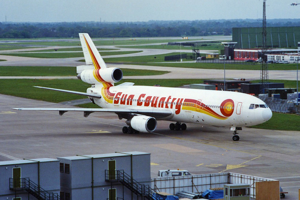 Certainly a Sun Country Dc10-10 (N573SC) was not the most common of visitors to MAN . However, in a previous life with Laker Airways G-AZZC most certainly was! Here she is operating a sub charter for Excalibur (remember them?) on 18th May 1996. Photo with thanks to Stuart Prince.