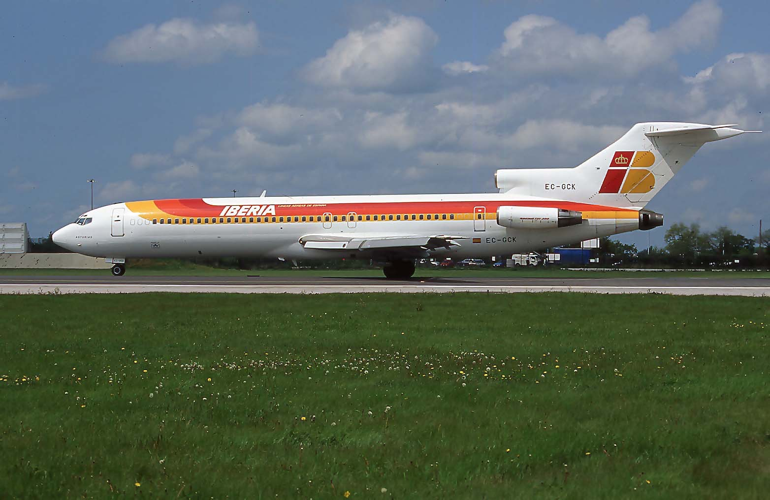 A fine shot of Iberia B727-200 EC-GCK (Note dual registration) on 24th May 1996. This particular aircraft was last reported as operating for Nigerian airline Albarka Air as 5N-IMM in November 2001 although is believed to have been scrapped at Lagos shortly afterwards. Photo:Paul Rowland