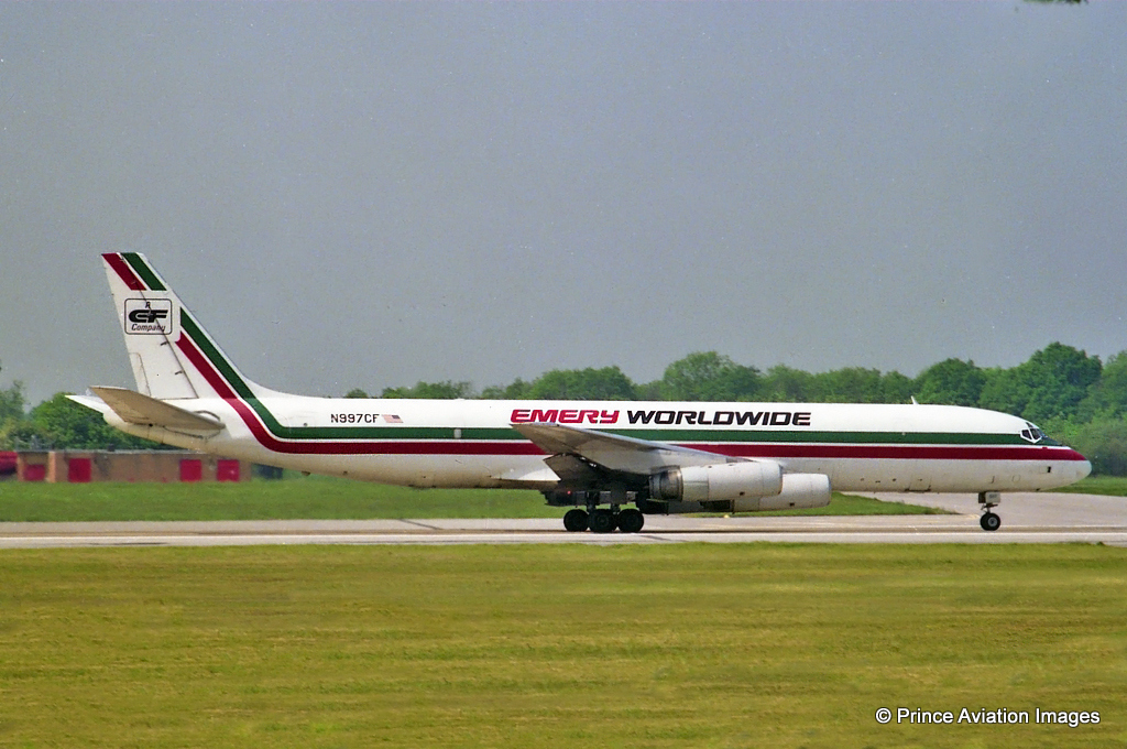 Emery World wide not only had a huge office complex and warehouse at Manchester but also operated daily freight services with their fleet of Dc8's. N997CF is seen here departing on Runway 06 on 23rd May 1992. Photo: Stuart Prince.