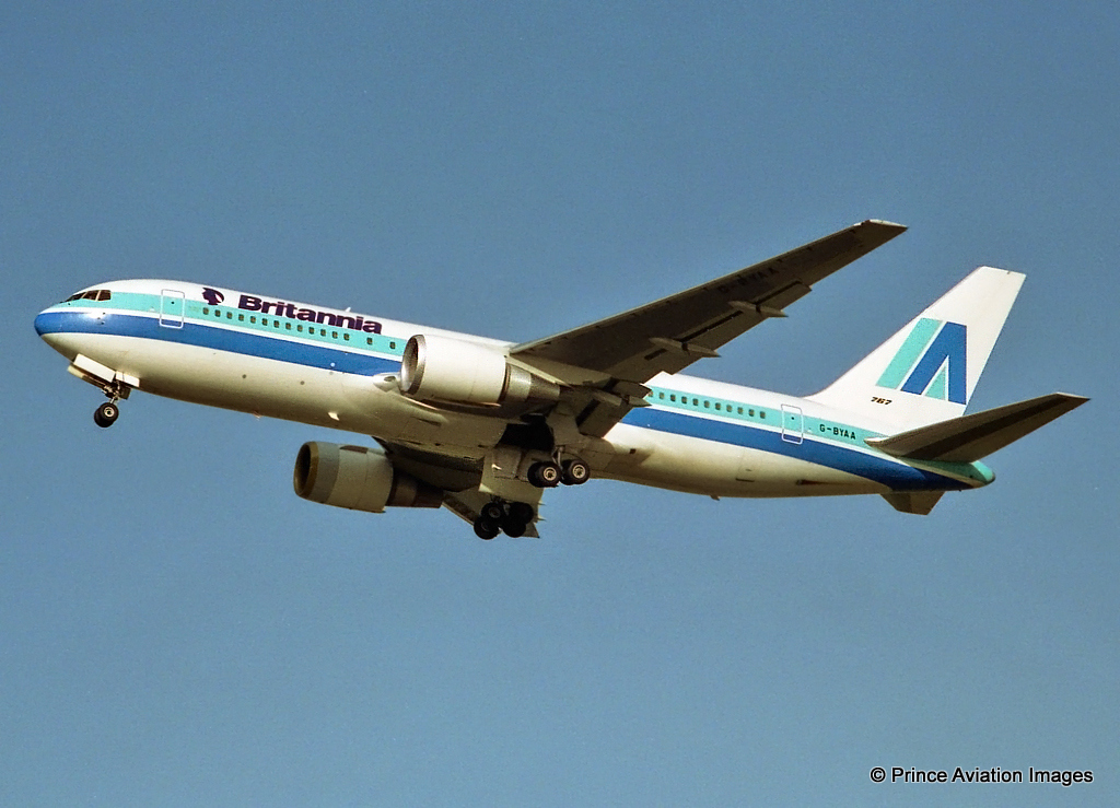 G-BYAA Britannia B767-200 departing on Runway 24 in basic Aruba colours in May 1992. Photo Stuart Prince.