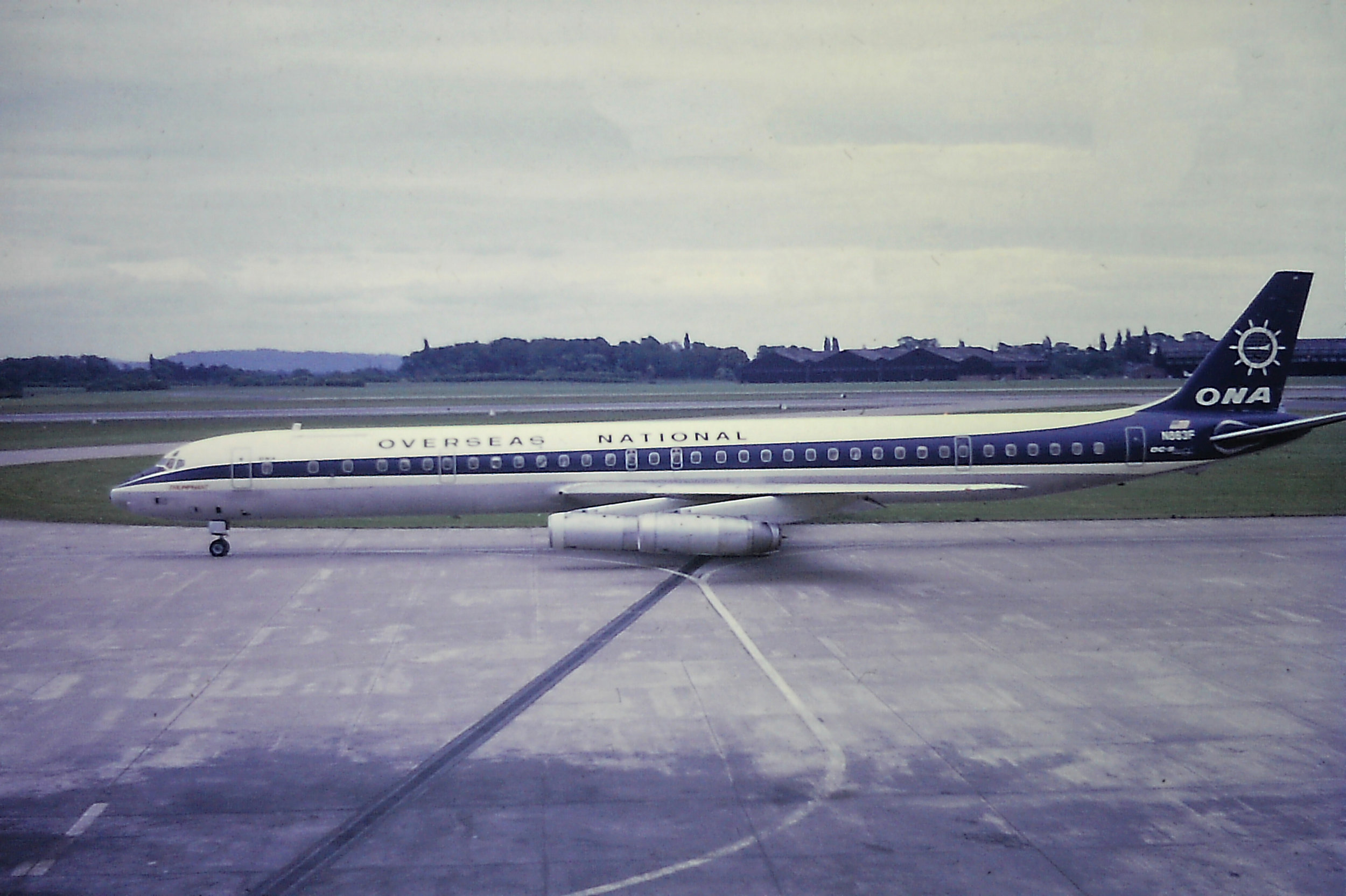 Overseas National were pretty frequent visitors to Manchester during the seventies with their Dc8's. N863F - Dc8-63 was captured taxiing out for a Runway 24 departure by Eric Wright on 31st May 1970 The aircraft on this -occasion was routing Frankfurt - Manchester - Mexico City