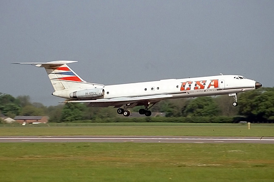 "CSA TU134A OK-EFK landing on Runway 06 in May1994. TAS operated an ""Aviation weekend"" trip to Prague - departing Manchester on a CSA TU134 then flying on a number of pre organised flights such as a YAK 40, AN 2, Zlin, and Moravia… A very memorable weekend! Photo Peter H"