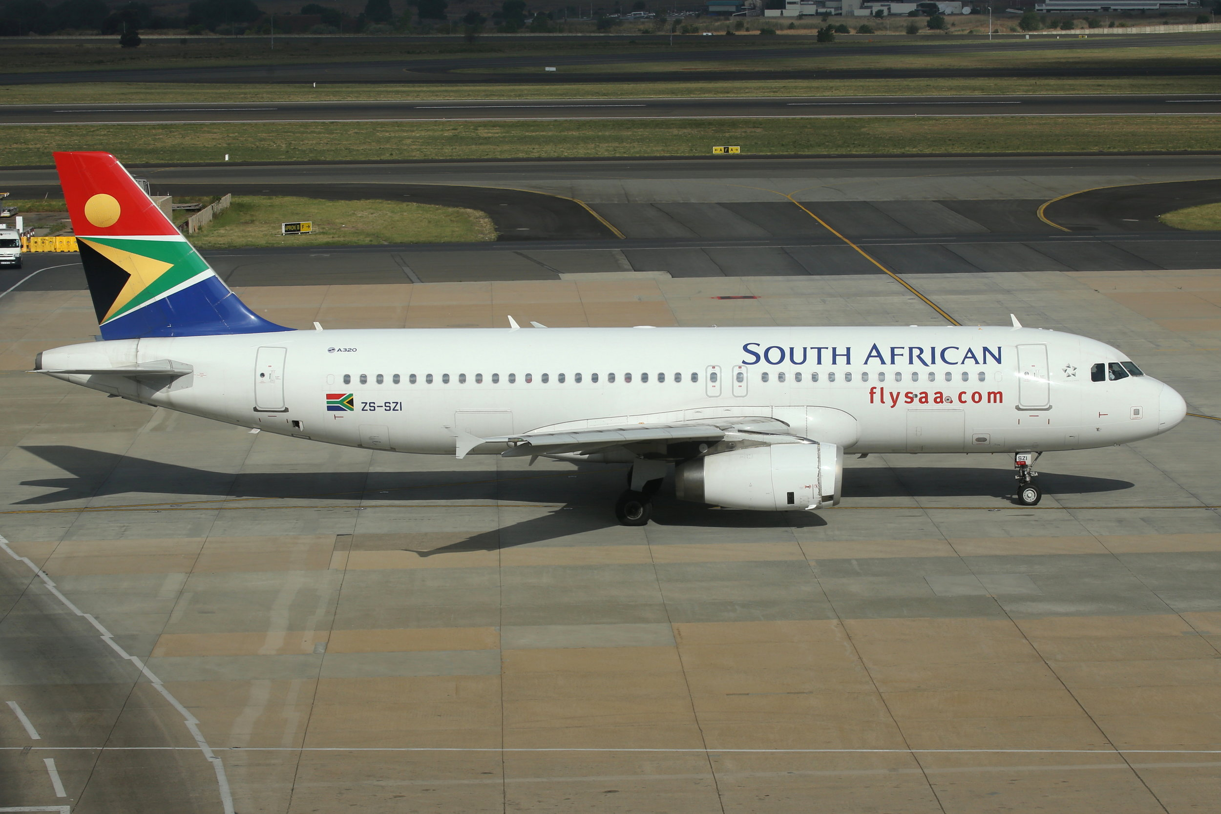 ZS-SZI South African A320 taken at Johannesburg 7th November 2018