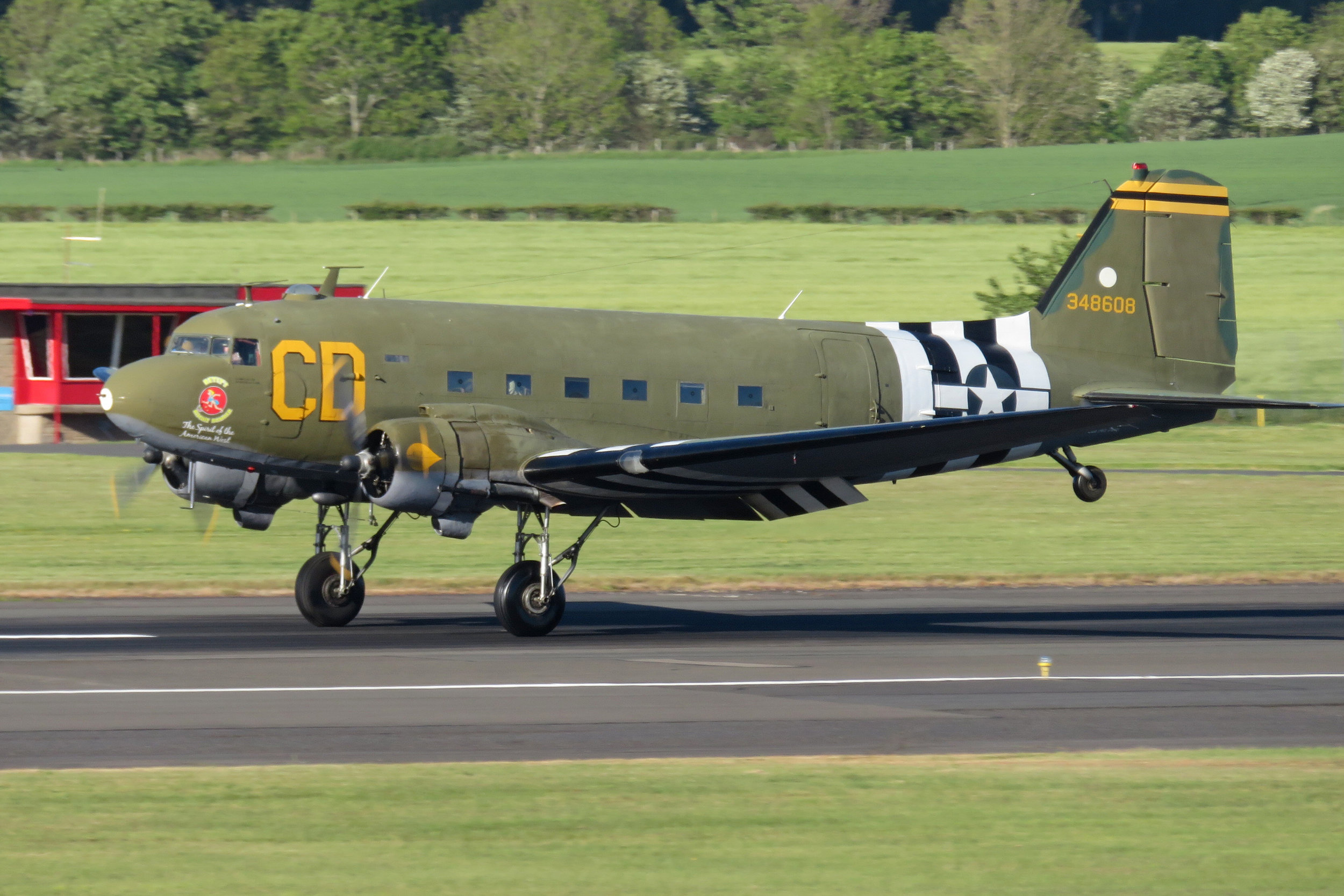 "Dakota C-47 ""Betsy Biscuit Bomber"", with registration N47SJ (USAF 43-48608 / 180746, cn 25869/14424). This aircraft was delivered to the USAF on September 4th, 1944. Photo: Chris Boyde Prestwick 24th May 2019.   DAK's over Manchester"