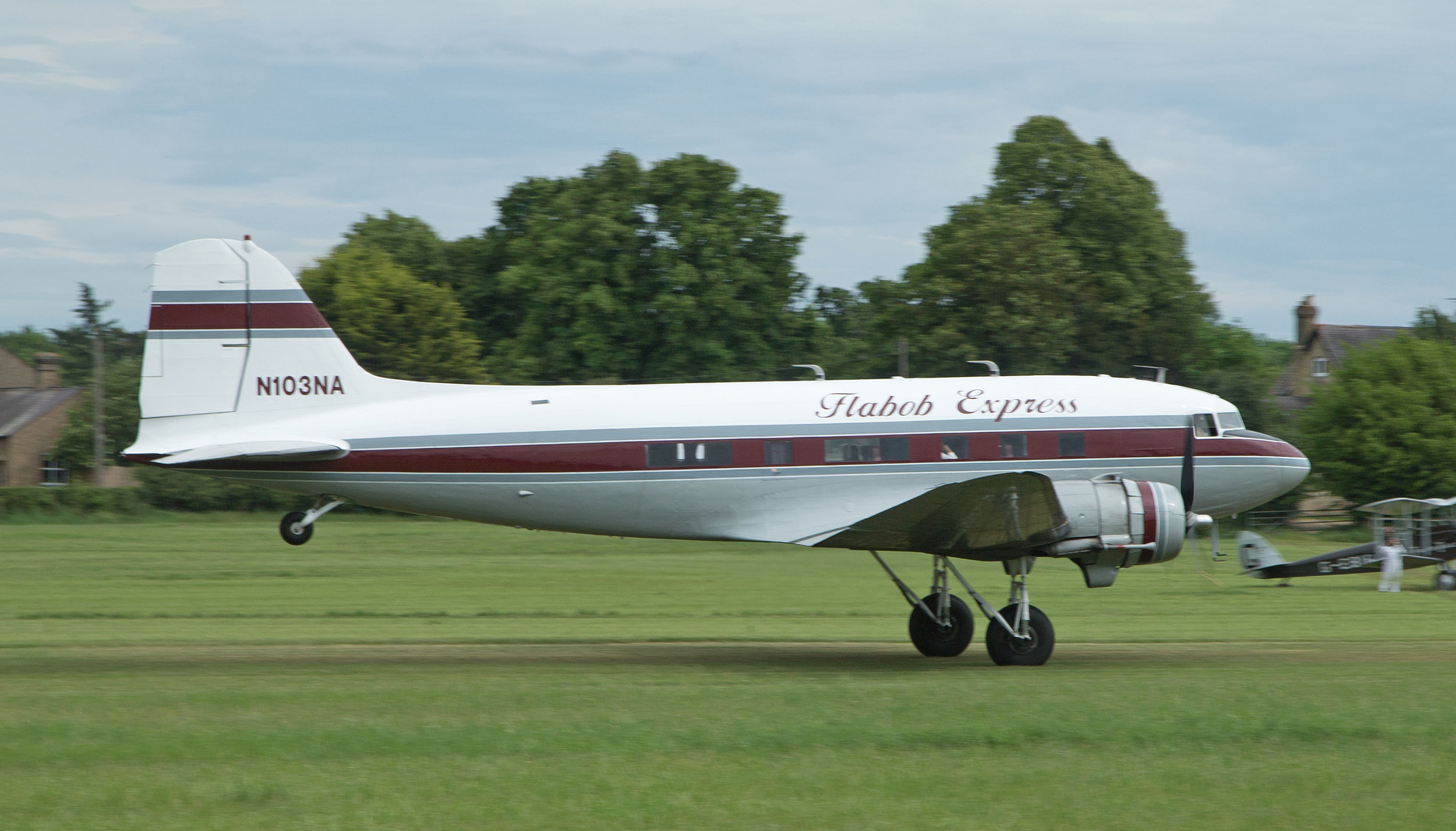 The Flabob Express N103NA departs Old Warden for Duxford on Sunday 2nd June :Photo Peter Hampson.