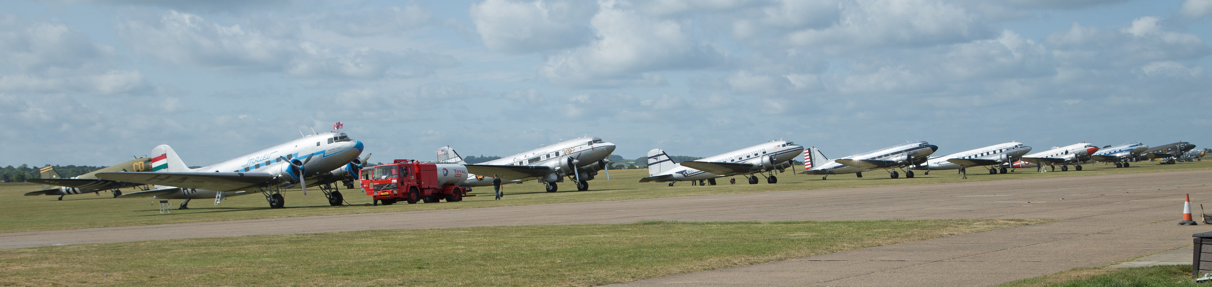 What a line up! Dakota's at Duxford. Photo: Peter Hampson 3rd June 2019.