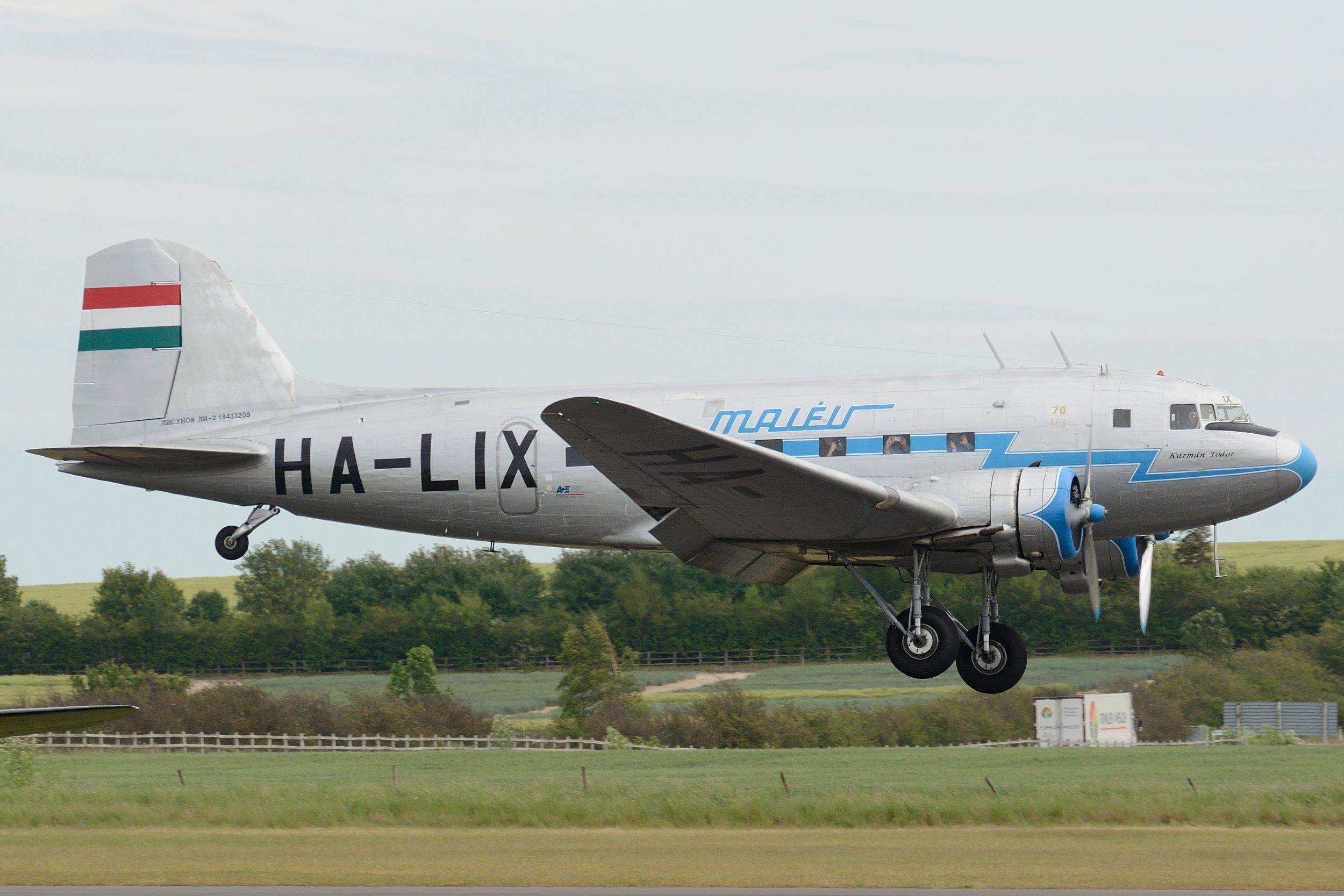Li 2 HA-LIX landing at Duxford Sunday 2nd June 2019. Photo: Paul Watson.