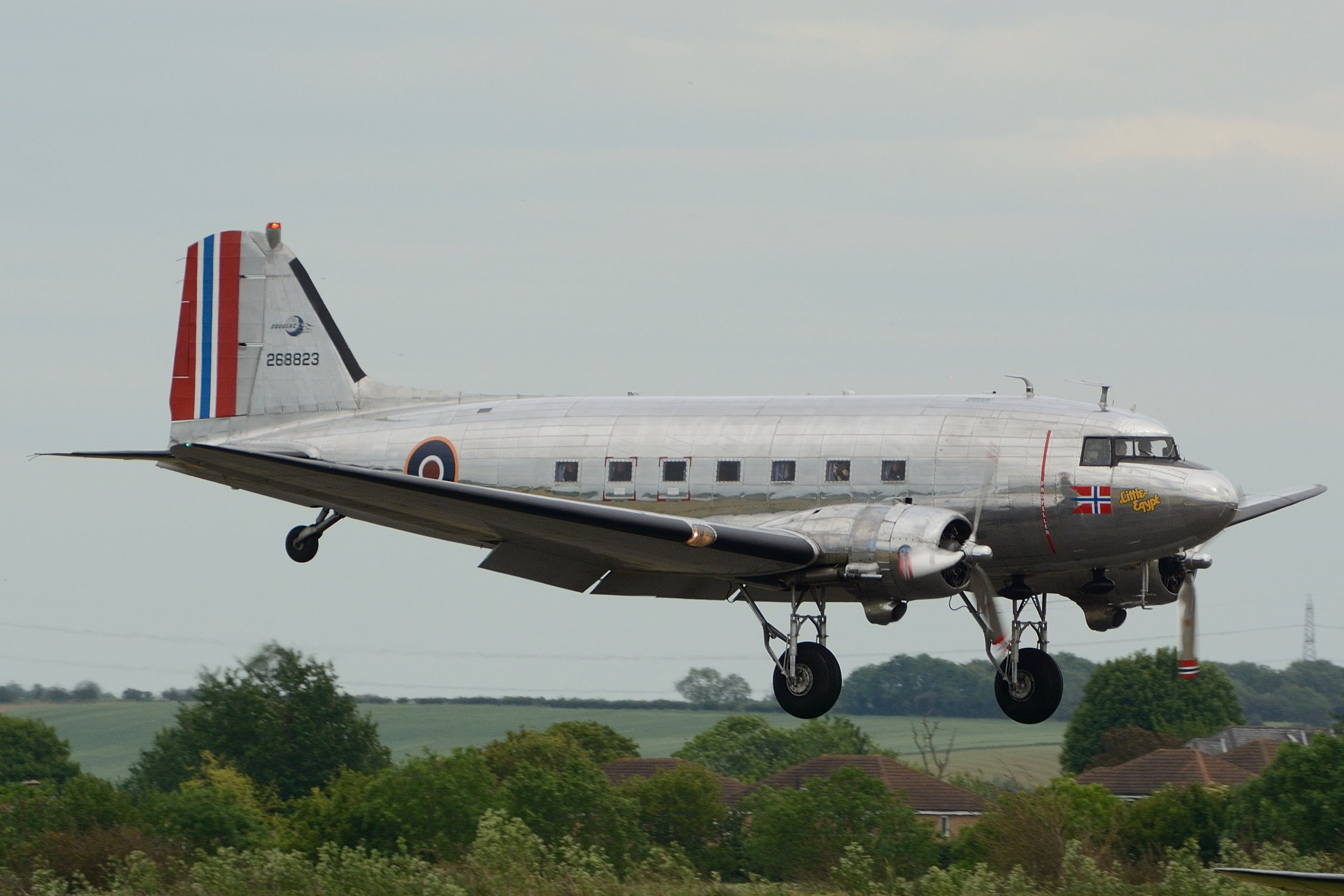 LN-NWD Dc3 on final approach to Duxford Sunday 2nd June:Photo Paul Watson.