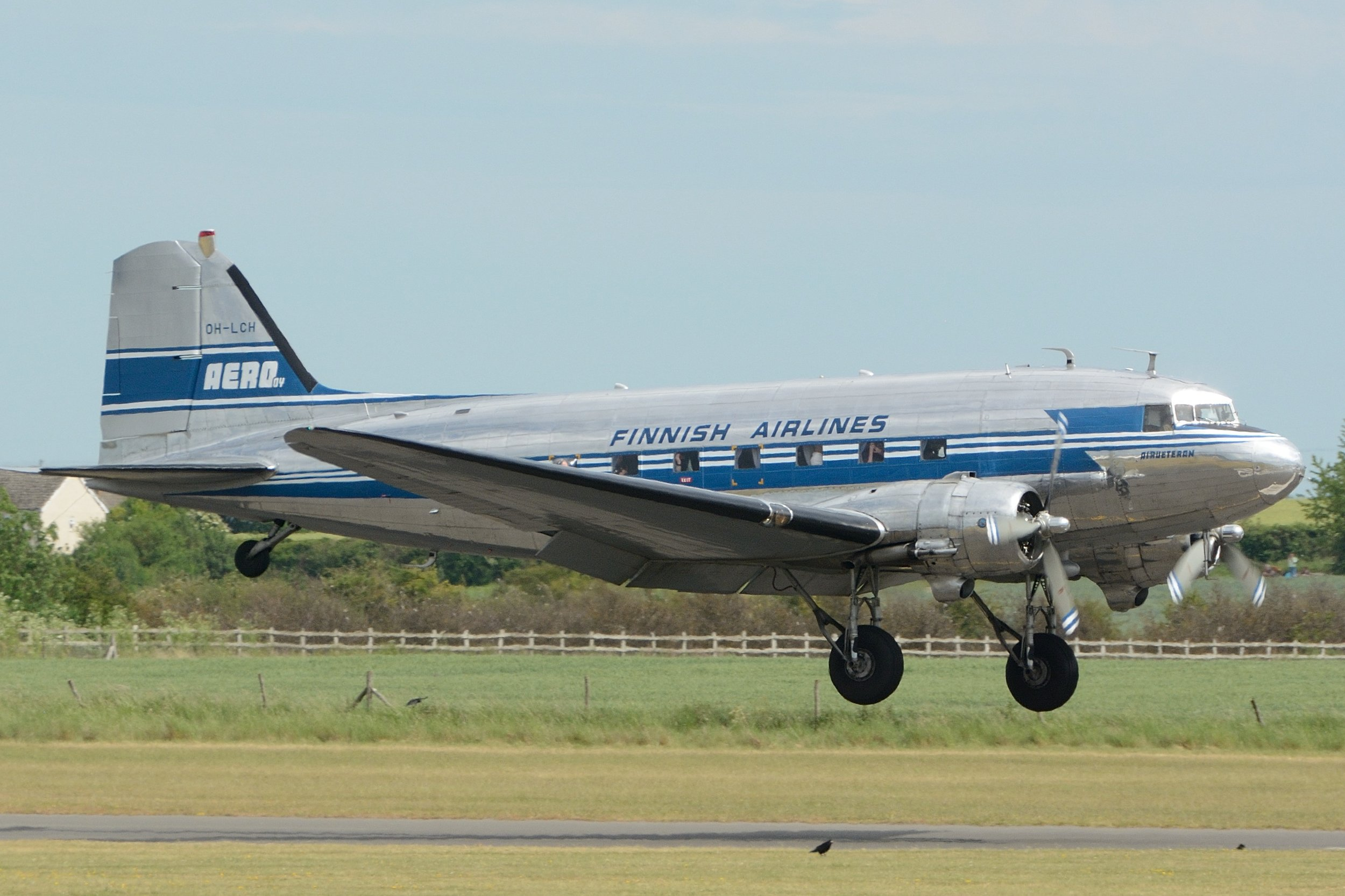 OH-LCH Finnish Airlines Dc3 on approach to Duxford 2nd June 2019. Photo: Paul Watson