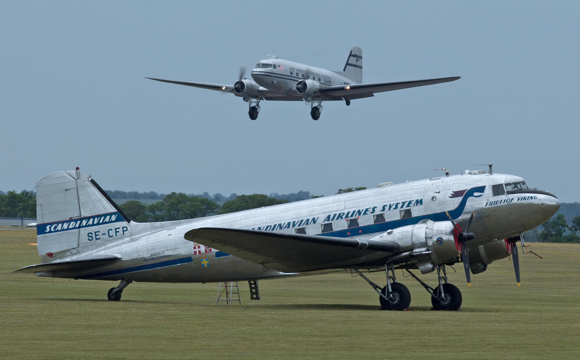 SAS and Pan American Dc3's at Duxford 4th June .Photo: Peter Hampson.