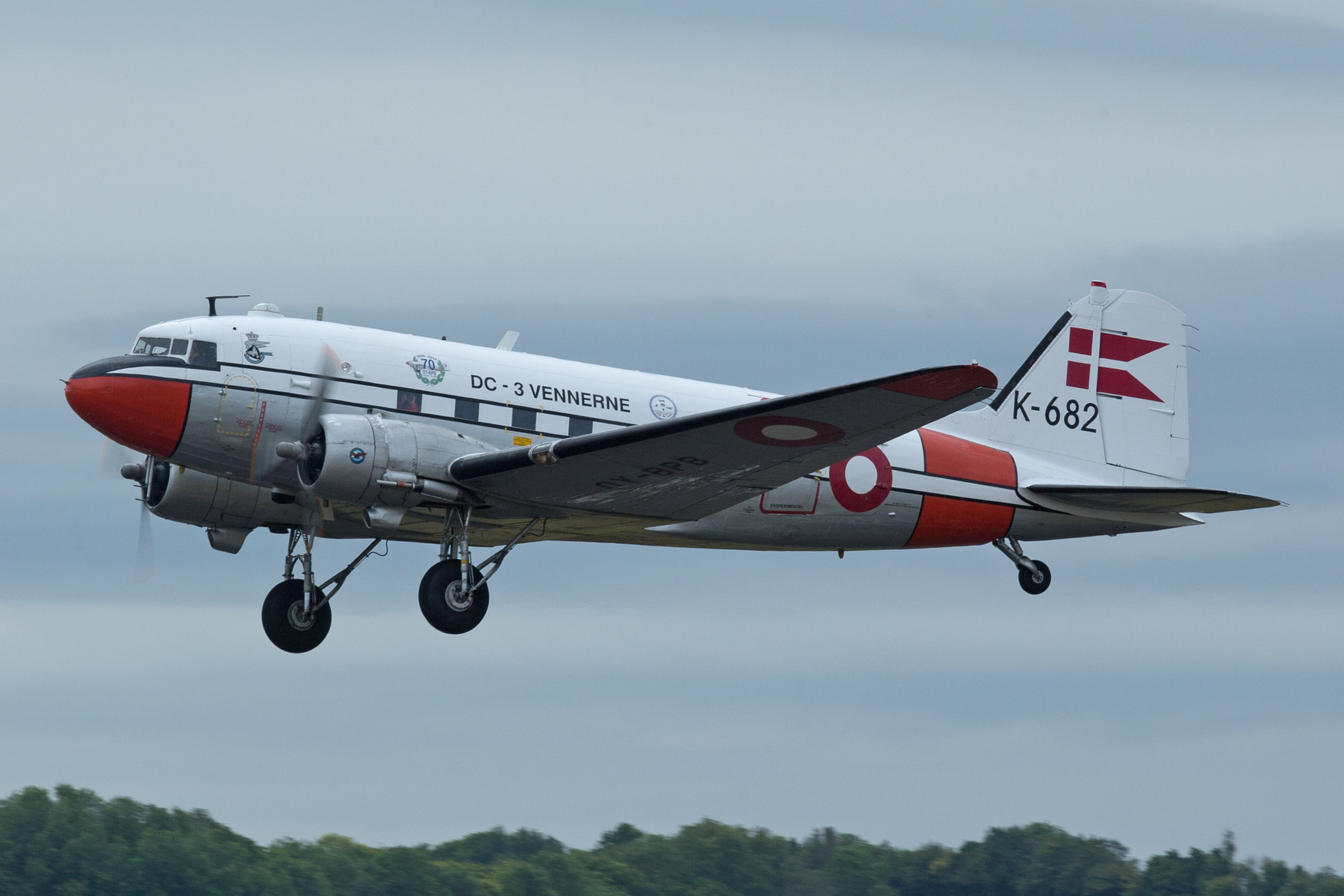 Dc3 OY-BPB departing Duxford Tuesday 4th June. Photo: Peter Hampson.