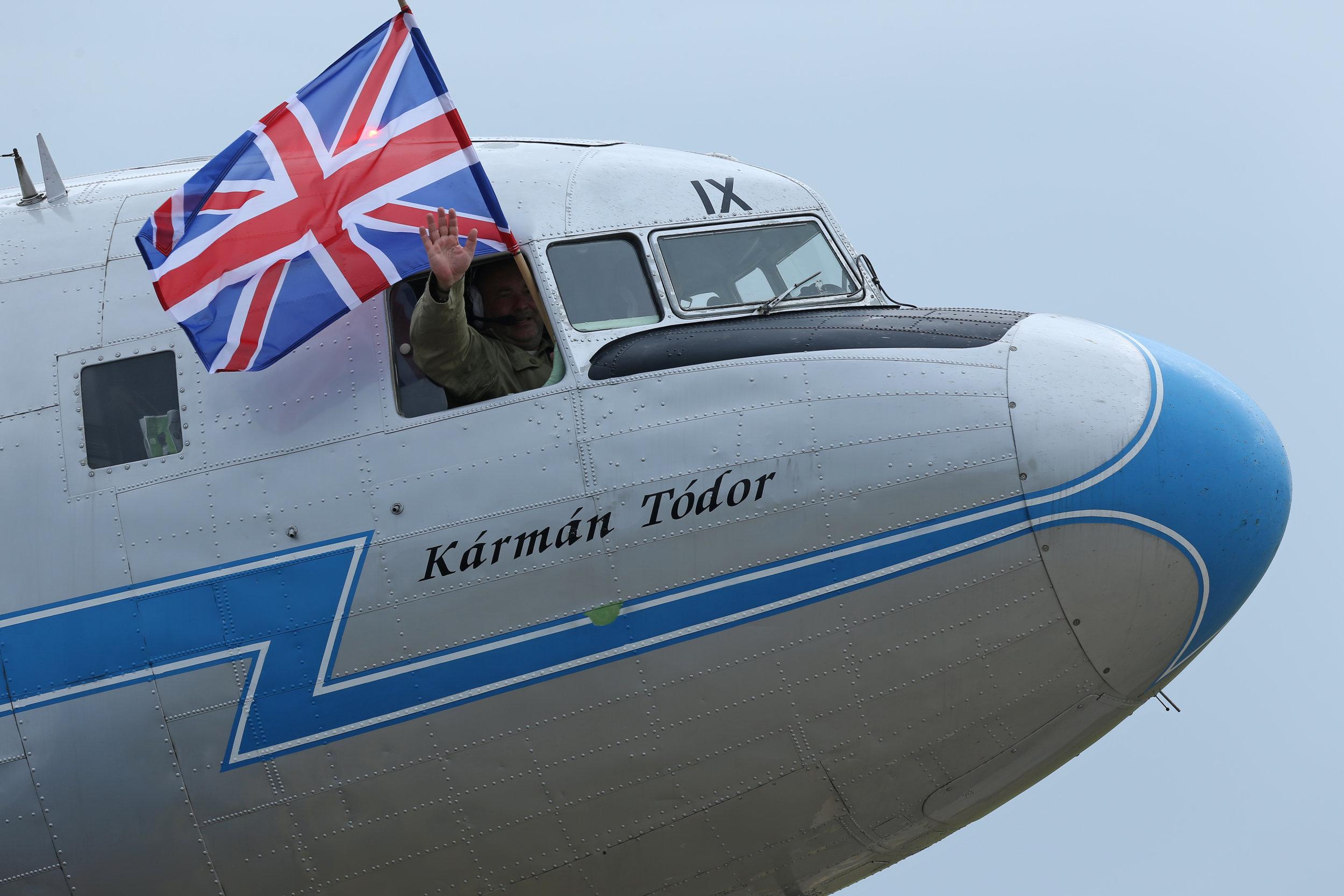 A happy Hungarian Li 2 pilot at Duxford 4th June 2019. Photo: Peter Hampson