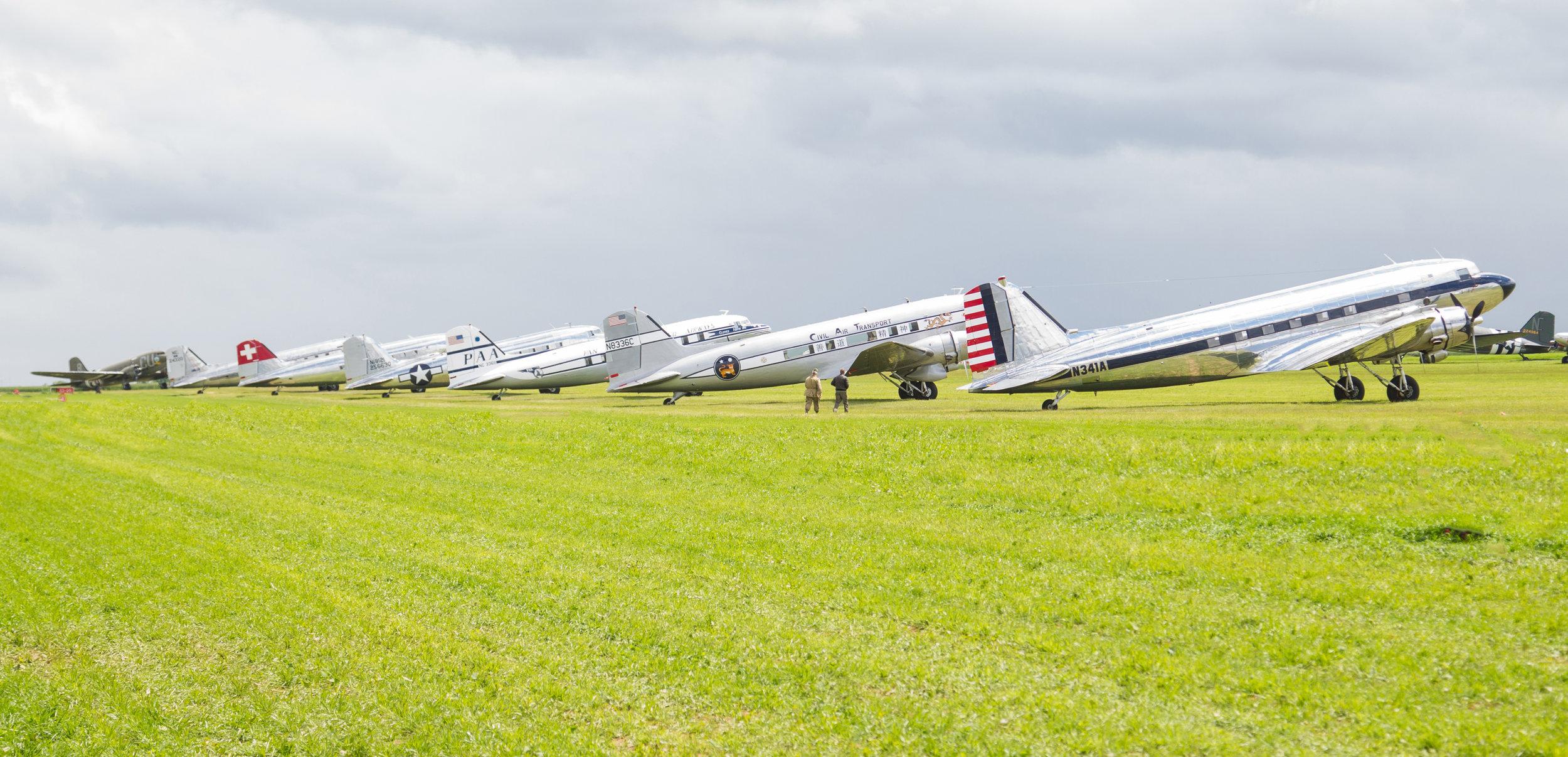 DAK's at Caen airport (Normandy) 7th June 2019. Photo: Debbie Riley.