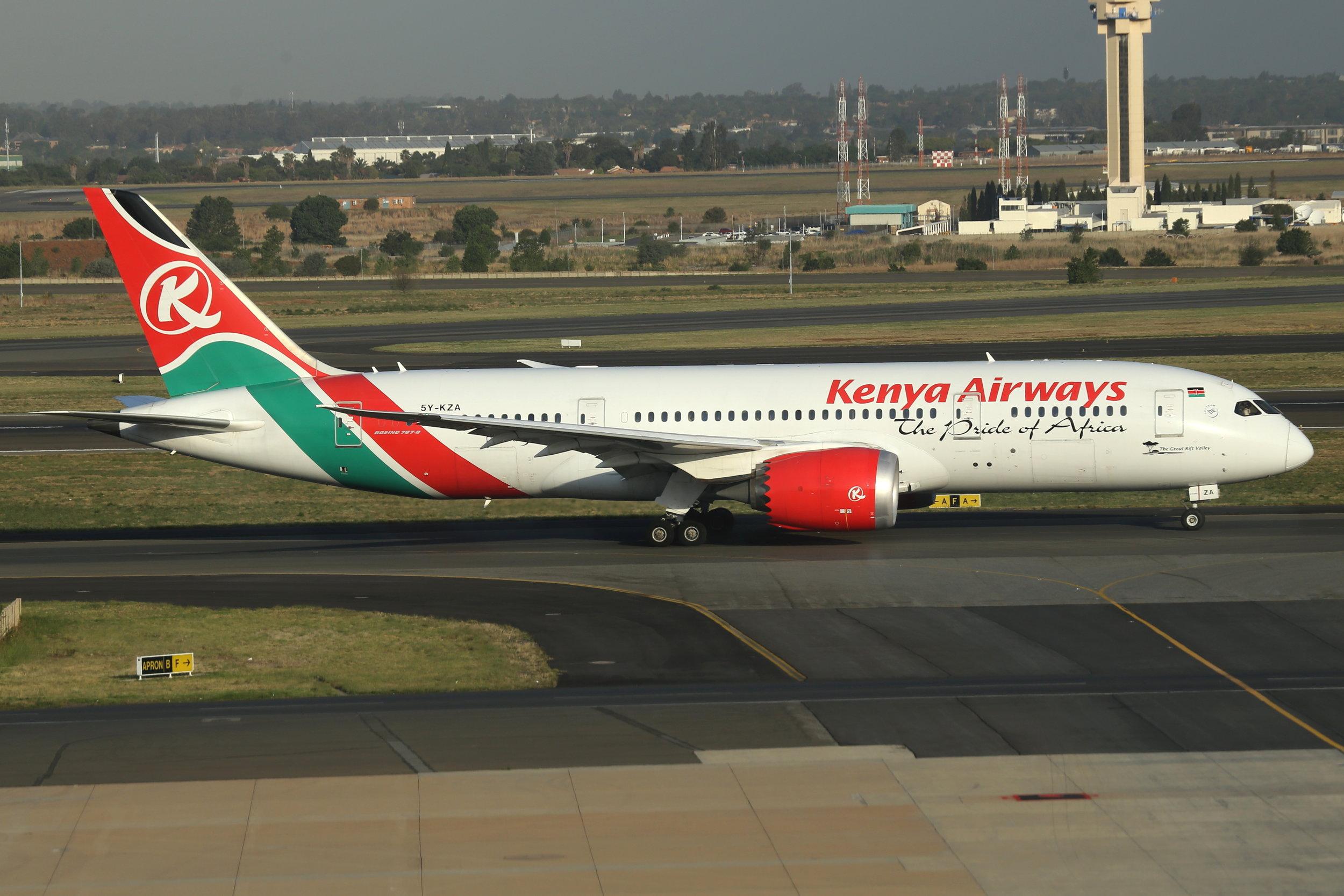 5Y-KZA Kenya Airways B787-8 taken at Johannesburg 7th November 2018 by John Wood