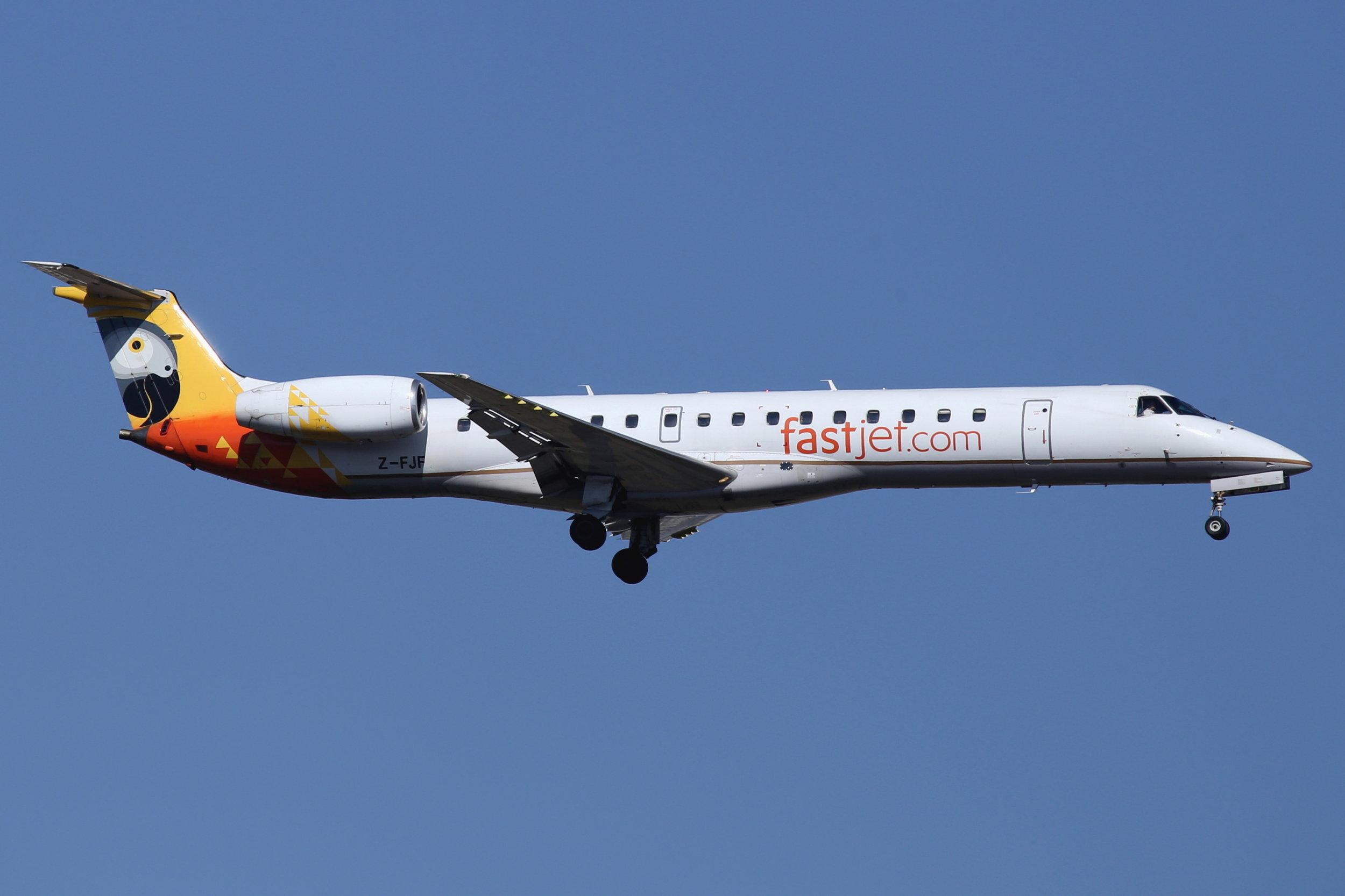 Z-FJF Fastjet Embraer 145 taken at Johannesburg 10th November 2018 by John Wood