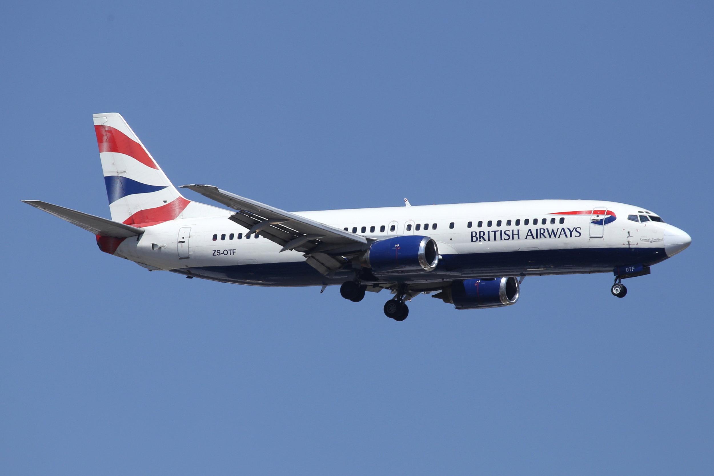 ZS-OTF British Airways/Comair B737-4 taken at Johannesburg 10th November 2018 by John Wood