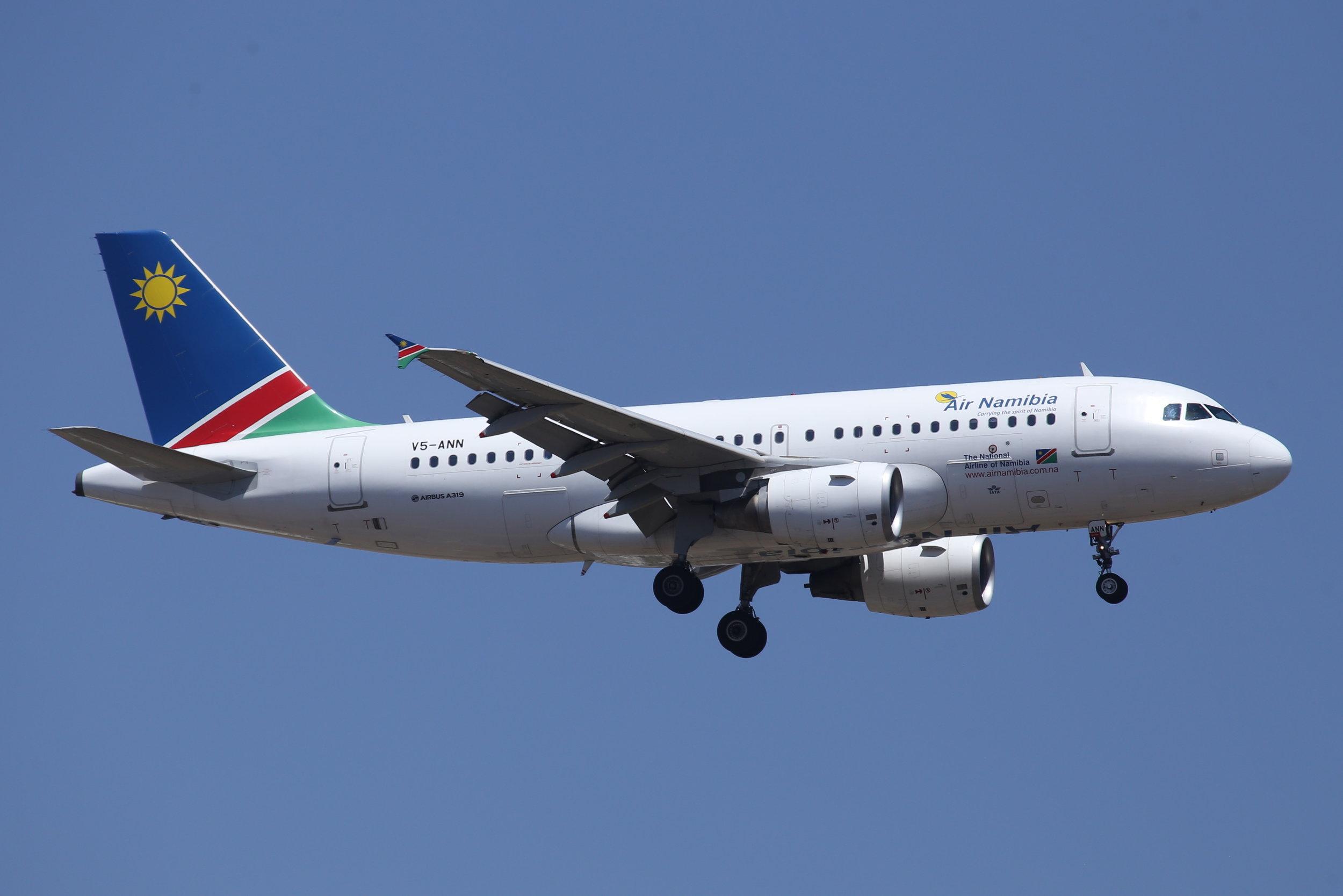 V5-ANN Air Namibia A319 taken at Johannesburg 10th November 2018 by John Wood