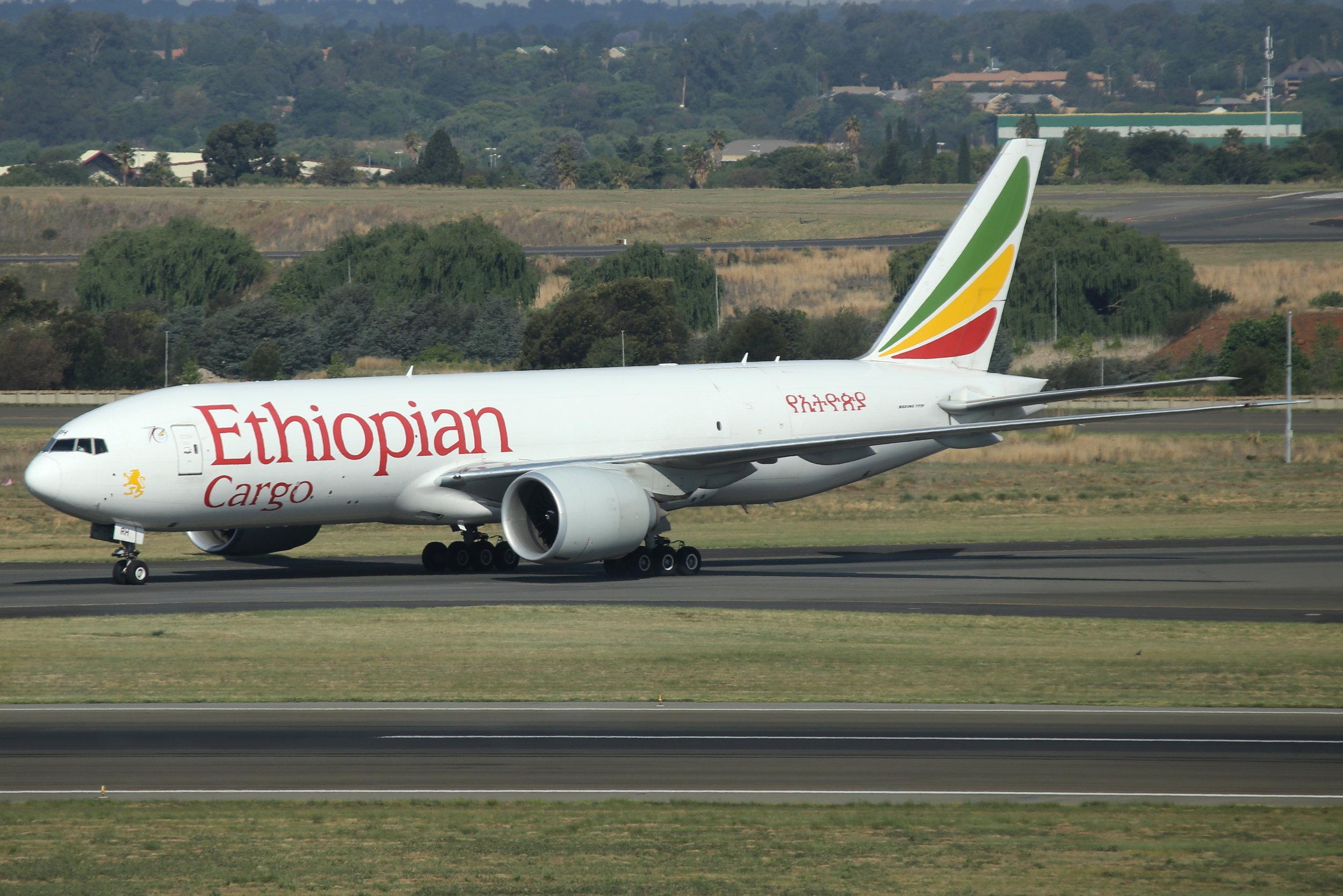 ET-ARH Ethiopian Cargo B777-2F taken at Johannesburg 11th November by John Wood