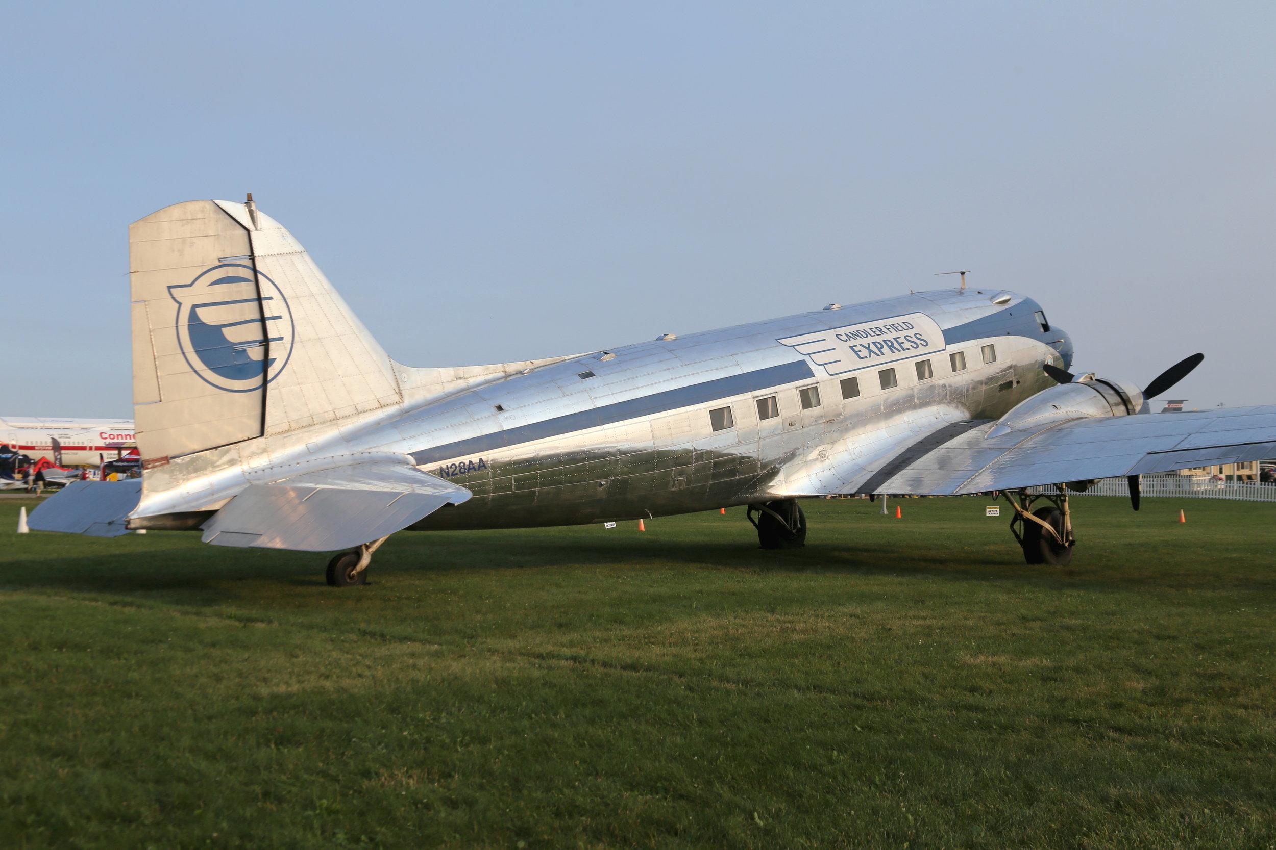 N28AA Candler Field Express DC3 taken at Oshkosh 23rd July 2018 by John Wood