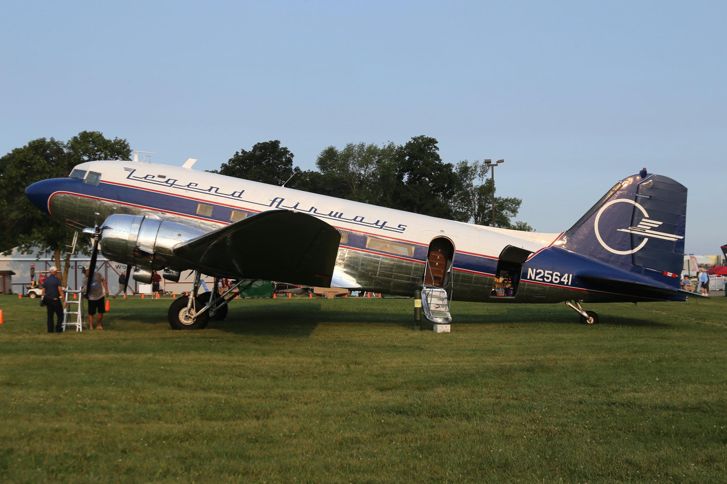 N25641 Legend Airways DC3 taken at Oshkosh 23rd July 2018 by John Wood