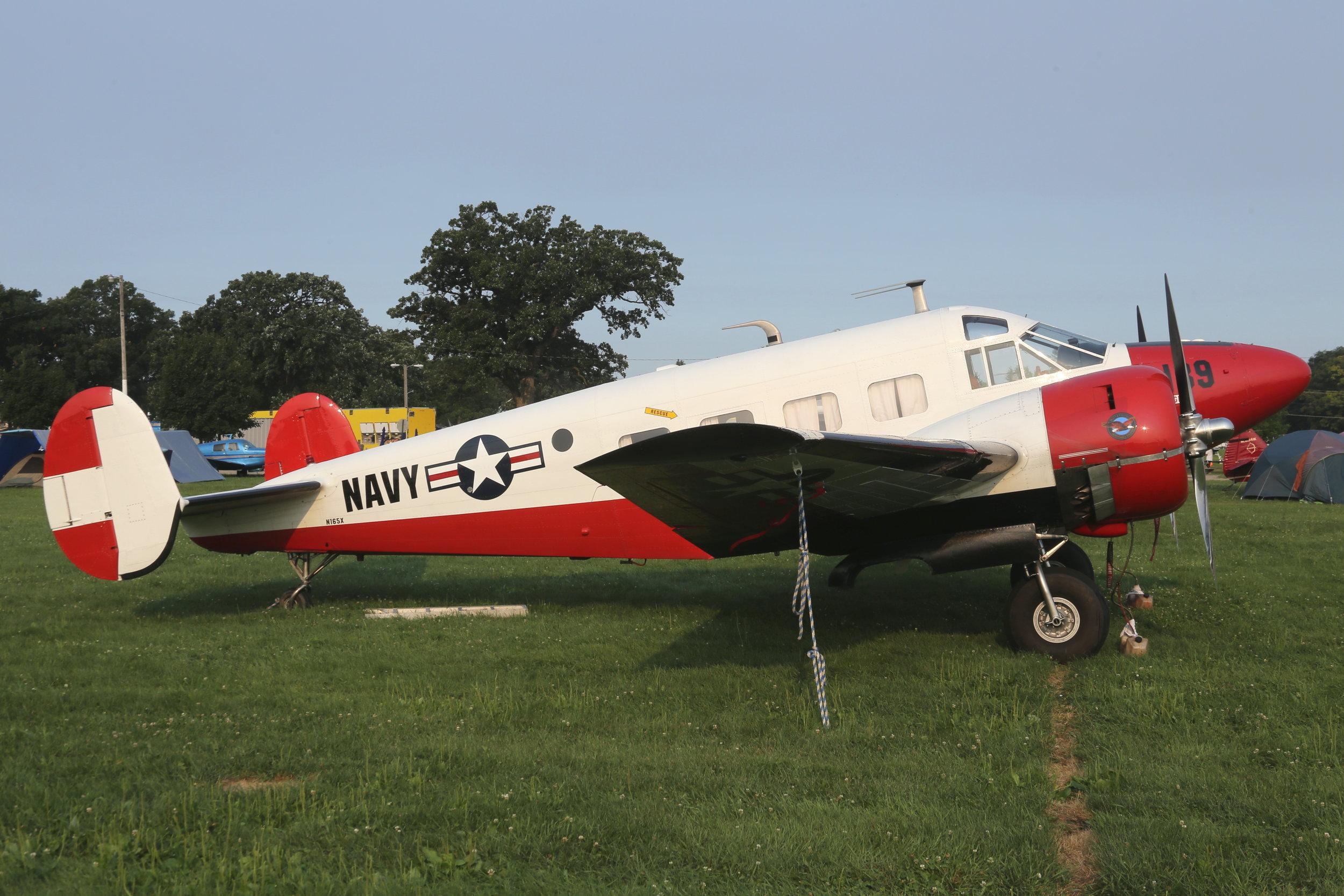 N165X Beech E18S taken at Oshkosh 23rd July 2018 by John Wood